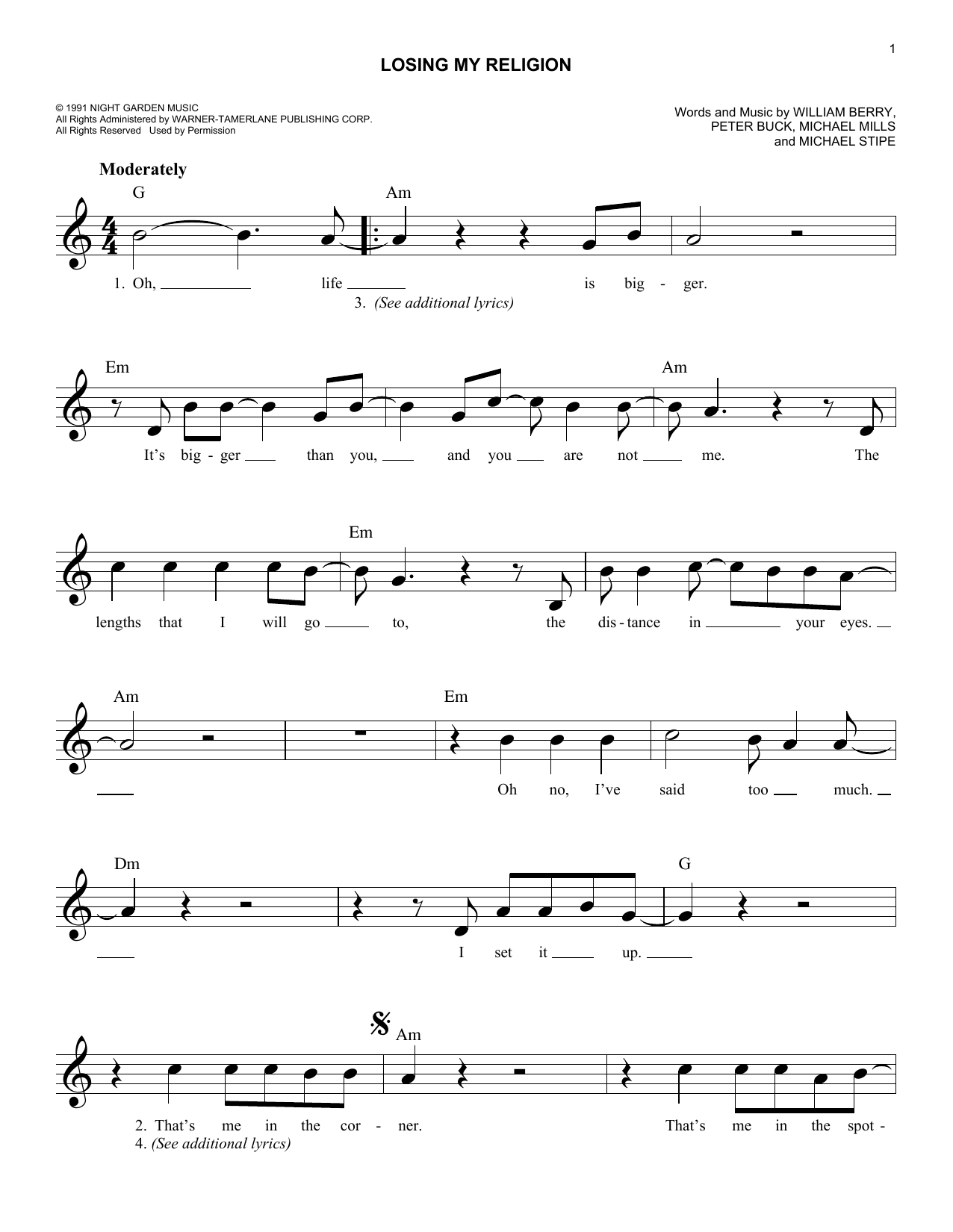 Sheet music digital files to print licensed michael stipe losing my religion hexwebz Images
