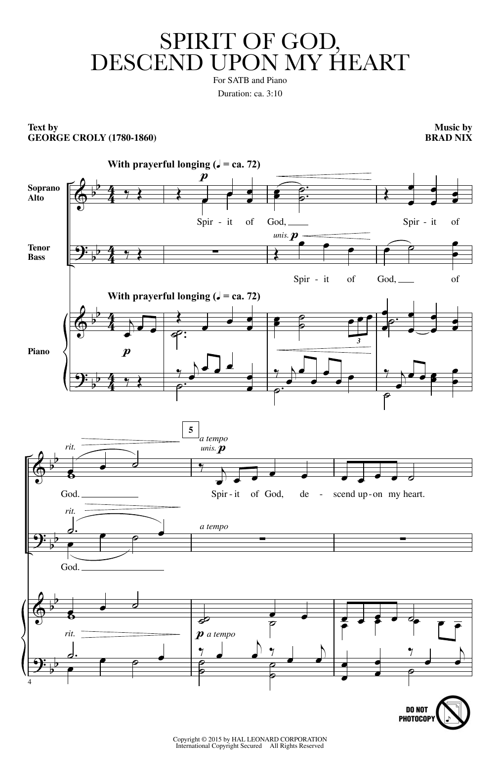 Partition chorale Spirit Of God, Descend Upon My Heart de George Croly - SATB