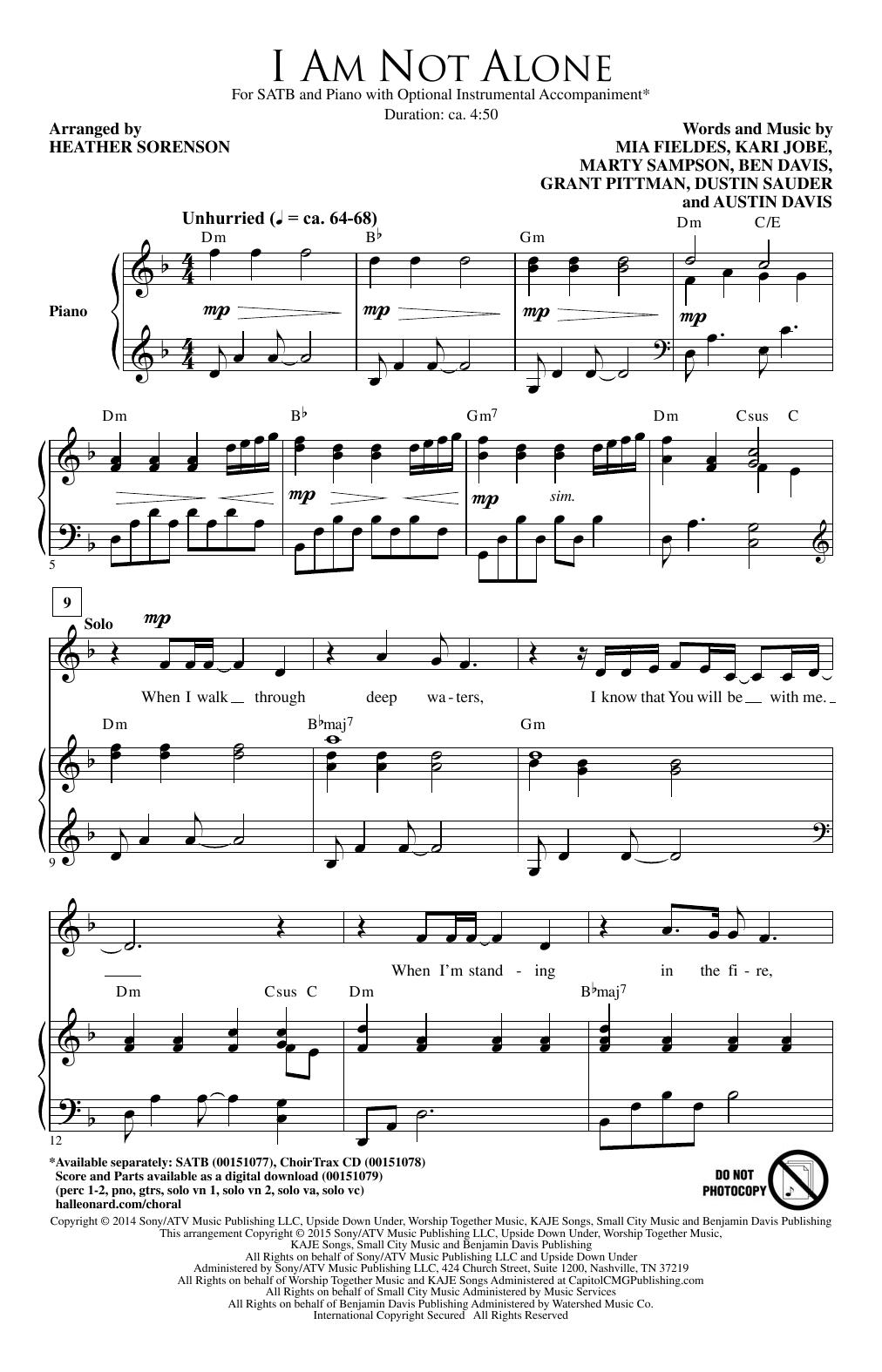 Partition chorale I Am Not Alone de Dustin Sauder - SATB