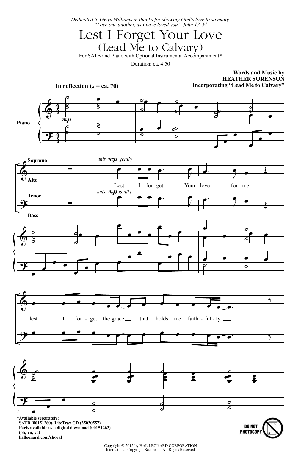Partition chorale Lest I Forget Your Love (Lead Me To Calvary) de Heather Sorenson - SATB
