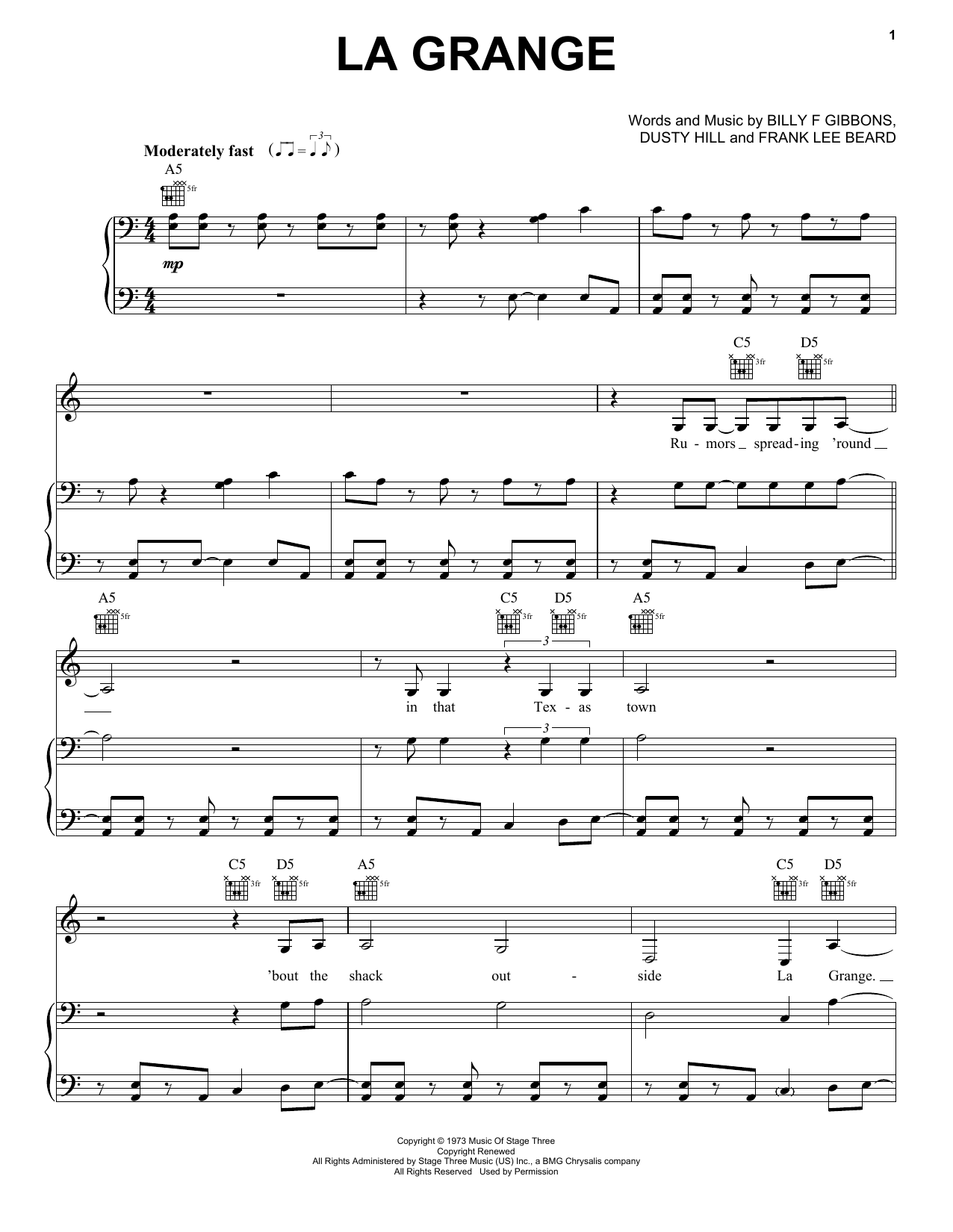La Grange sheet music by ZZ Top (Piano, Vocal u0026 Guitar (Right-Hand Melody) u2013 161848)