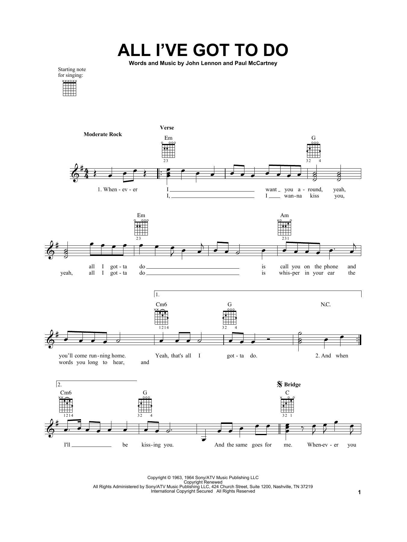 Tablature guitare All I've Got To Do de The Beatles - Tablature guitare facile