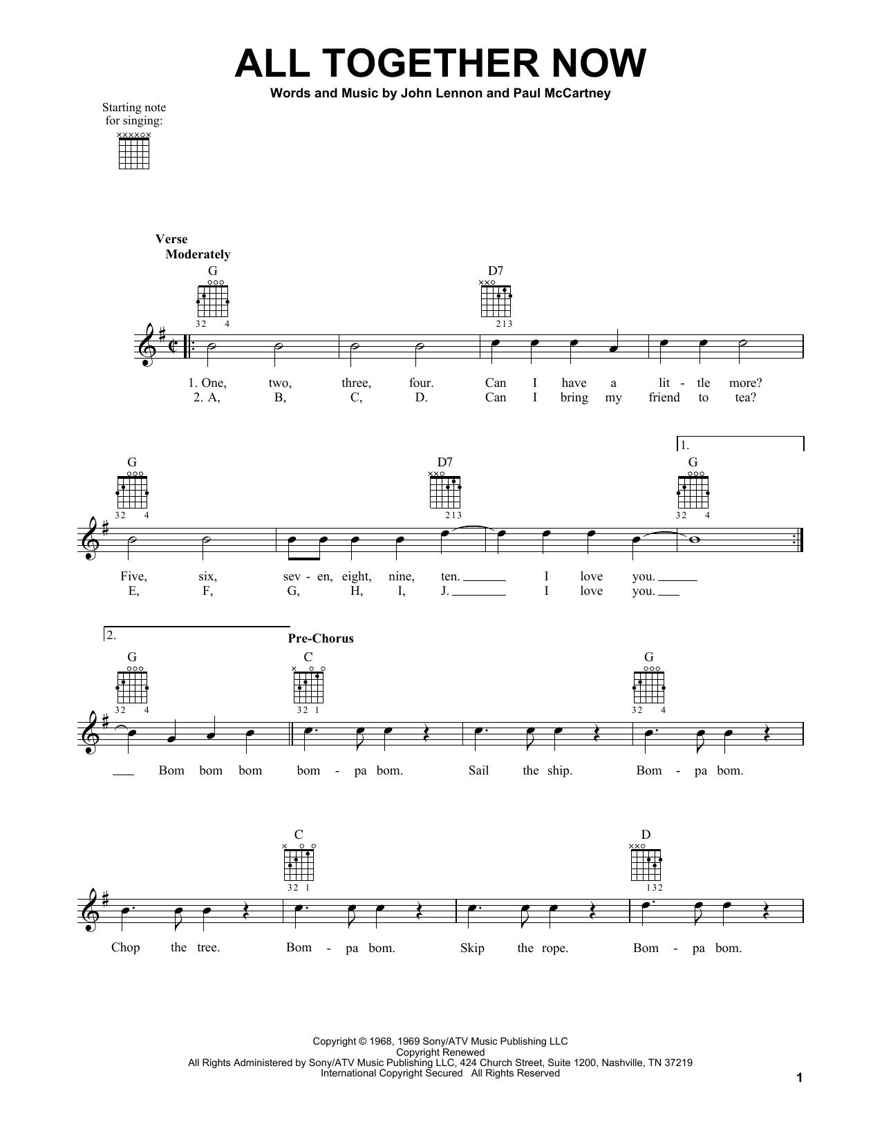 Tablature guitare All Together Now de The Beatles - Tablature guitare facile