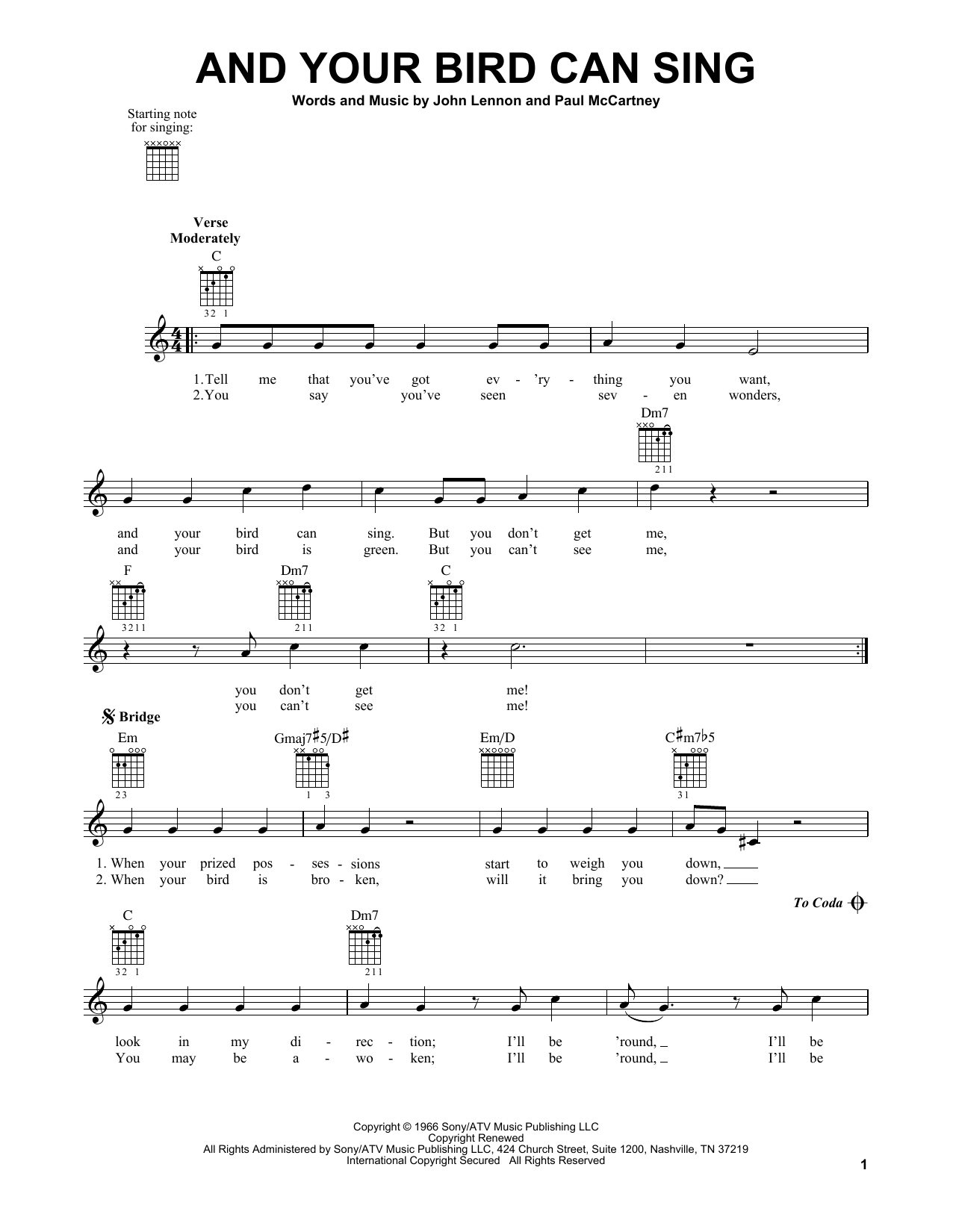 Tablature guitare And Your Bird Can Sing de The Beatles - Tablature guitare facile