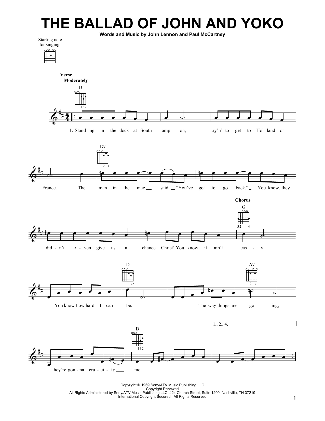 Tablature guitare The Ballad Of John And Yoko de The Beatles - Tablature guitare facile