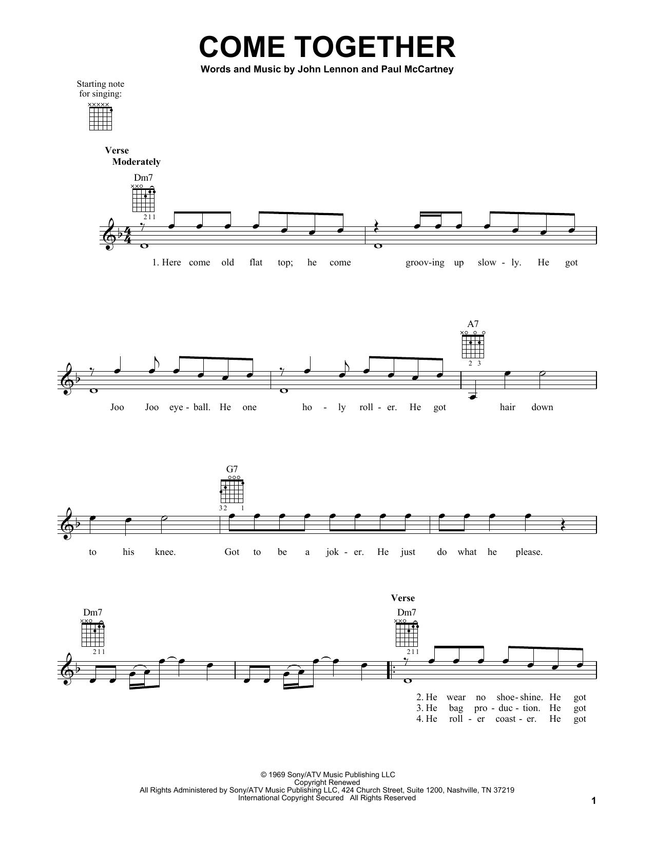 Tablature guitare Come Together de The Beatles - Tablature guitare facile