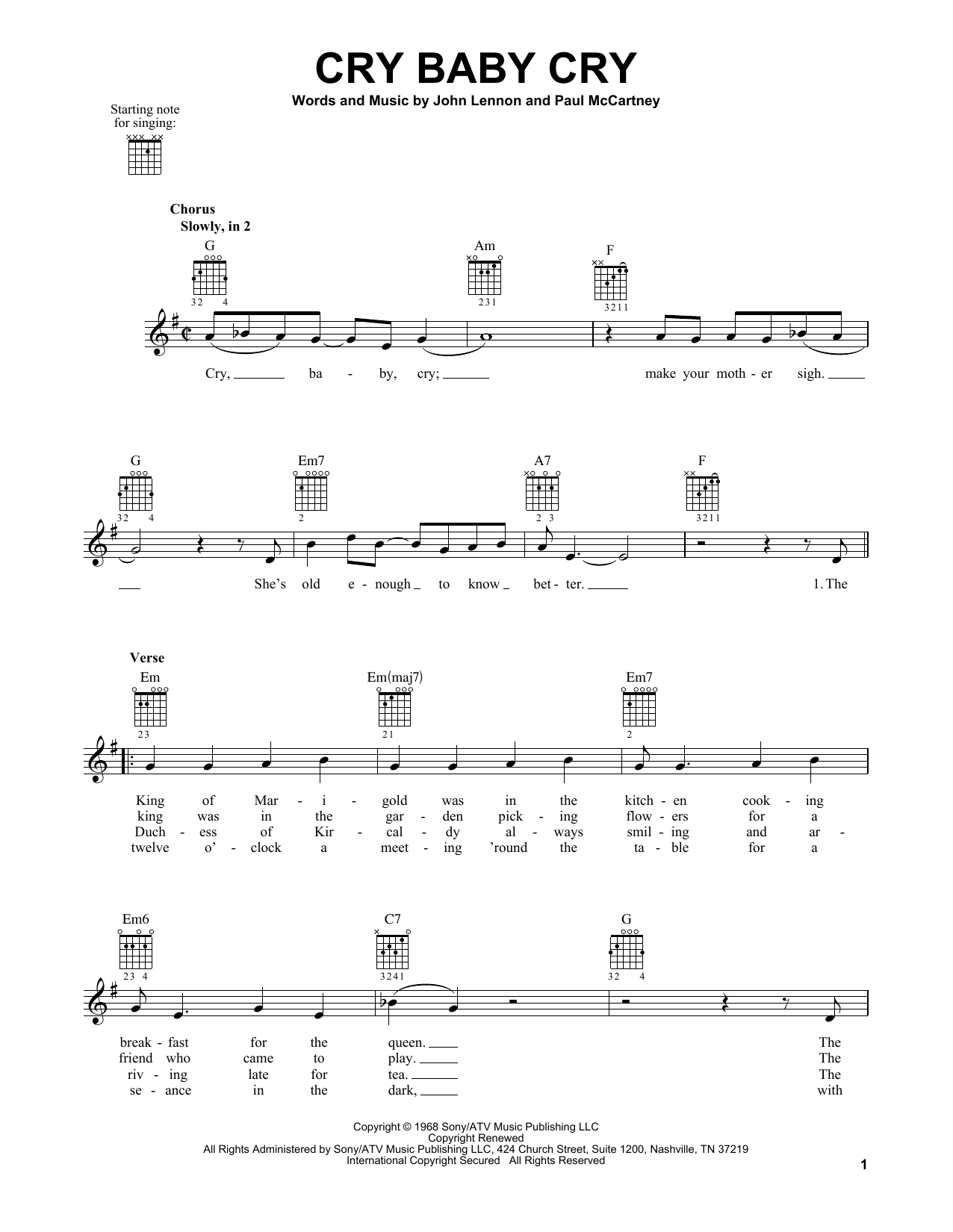 Tablature guitare Cry Baby Cry de The Beatles - Tablature guitare facile