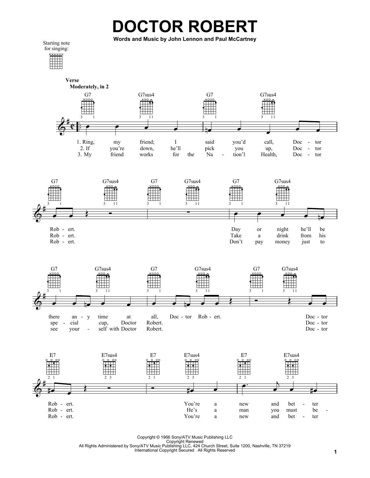 Tablature guitare Doctor Robert de The Beatles - Tablature guitare facile