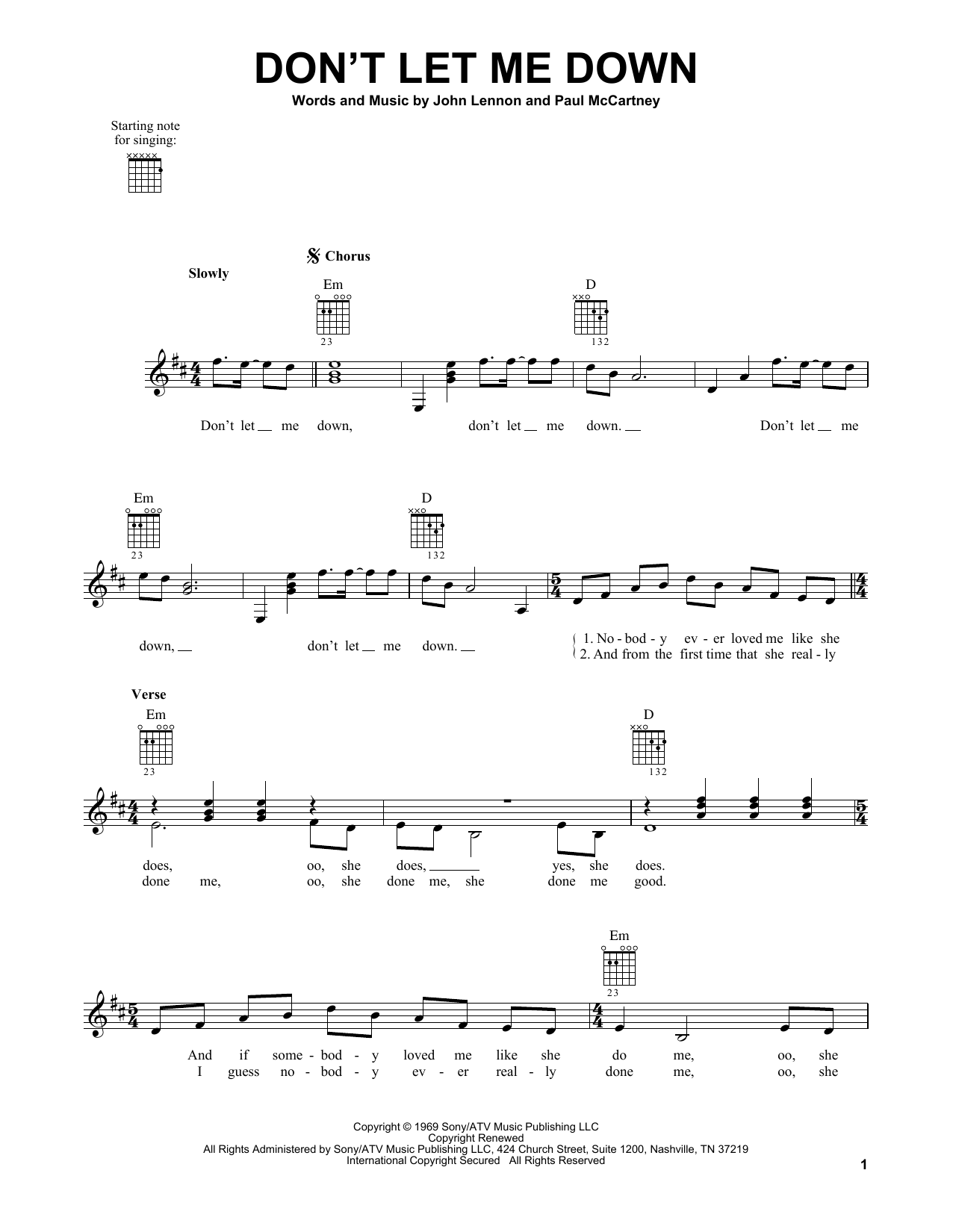 Tablature guitare Don't Let Me Down de The Beatles - Tablature guitare facile