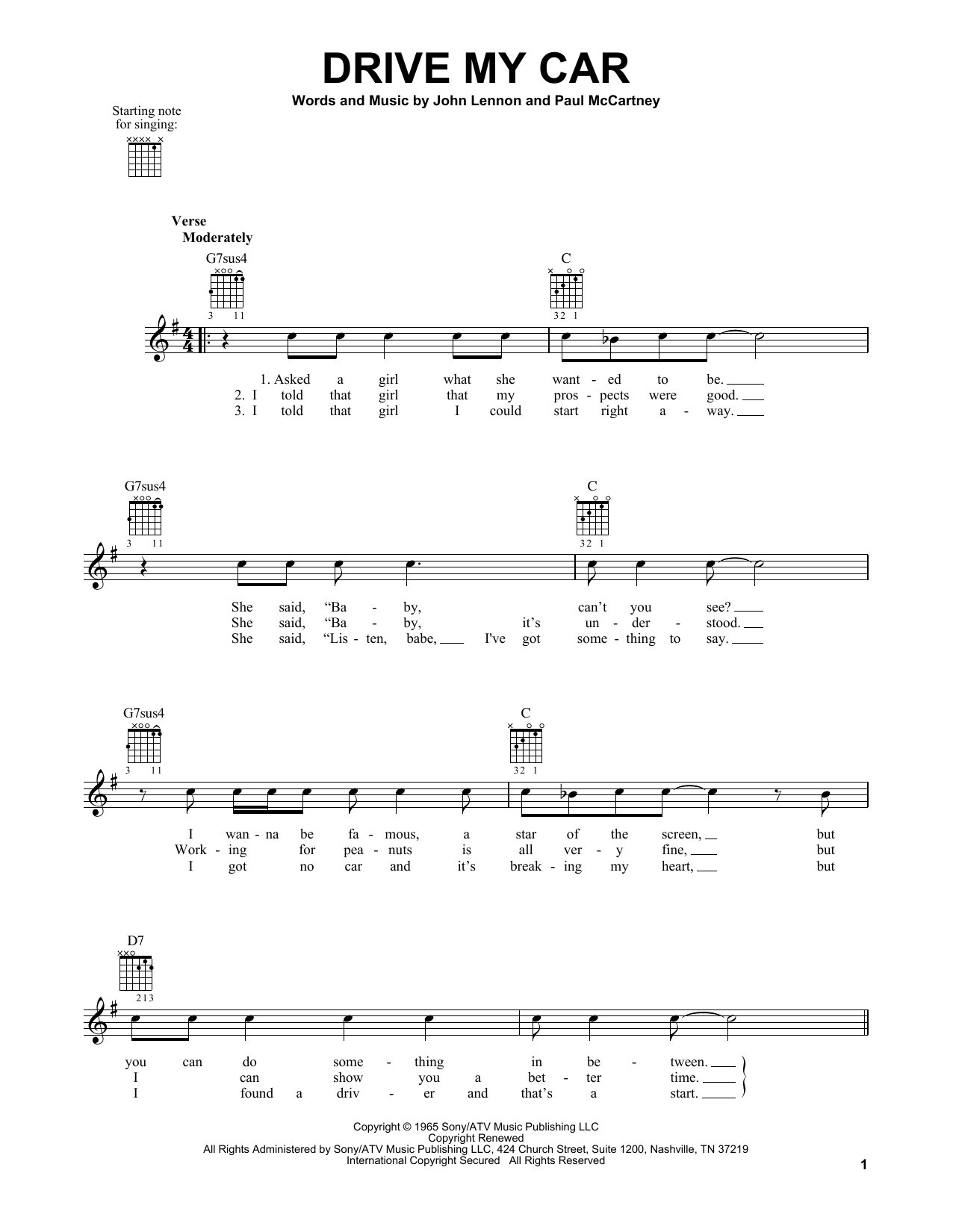 Tablature guitare Drive My Car de The Beatles - Tablature guitare facile
