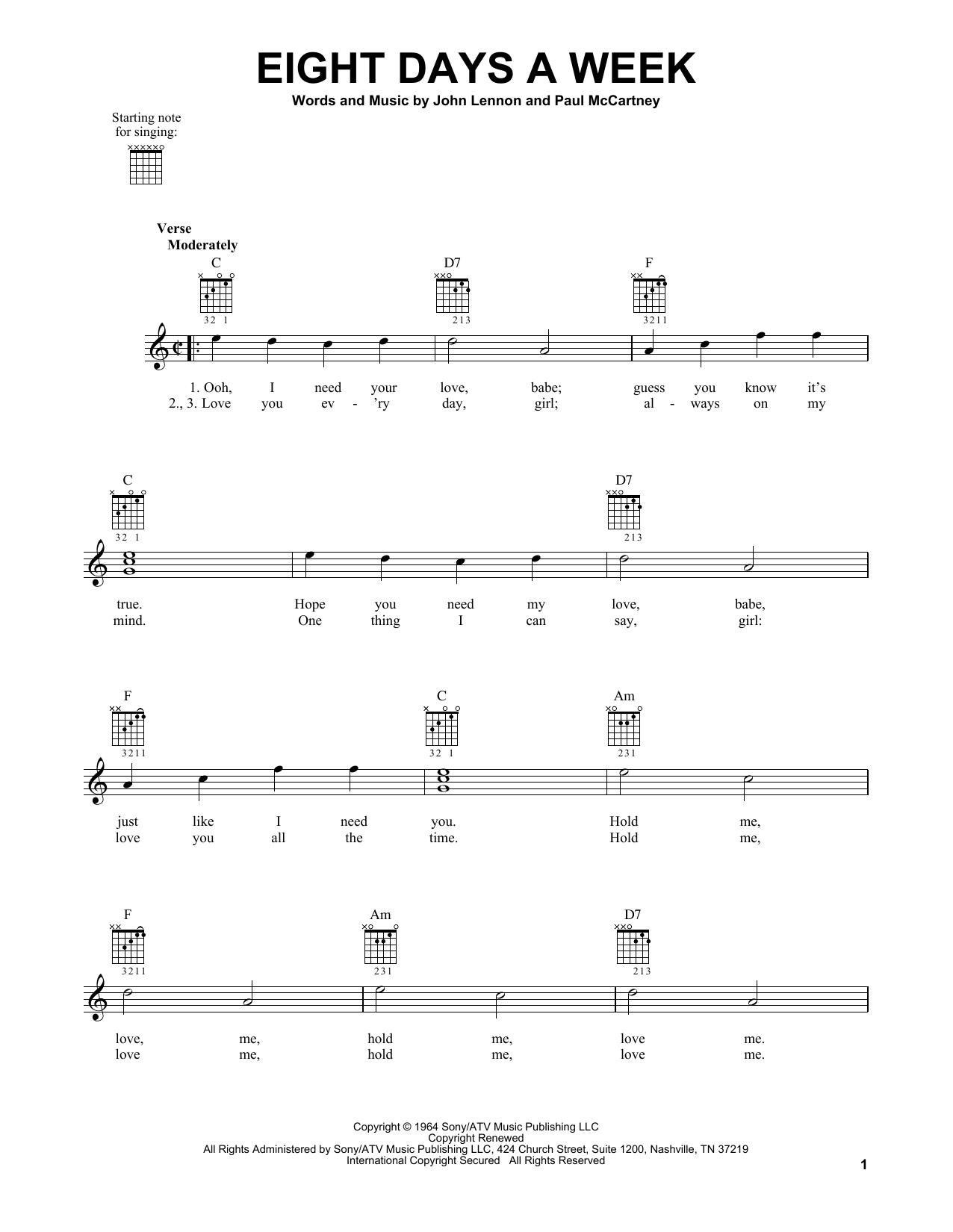 Tablature guitare Eight Days A Week de The Beatles - Tablature guitare facile