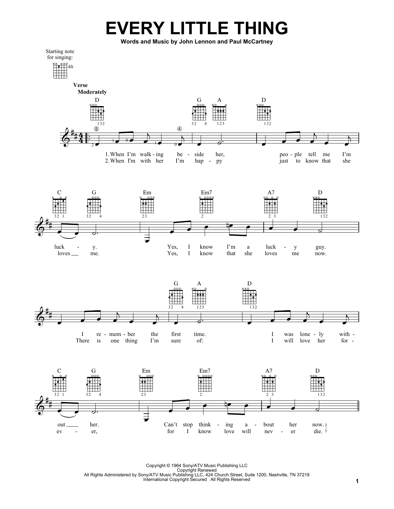 Tablature guitare Every Little Thing de The Beatles - Tablature guitare facile