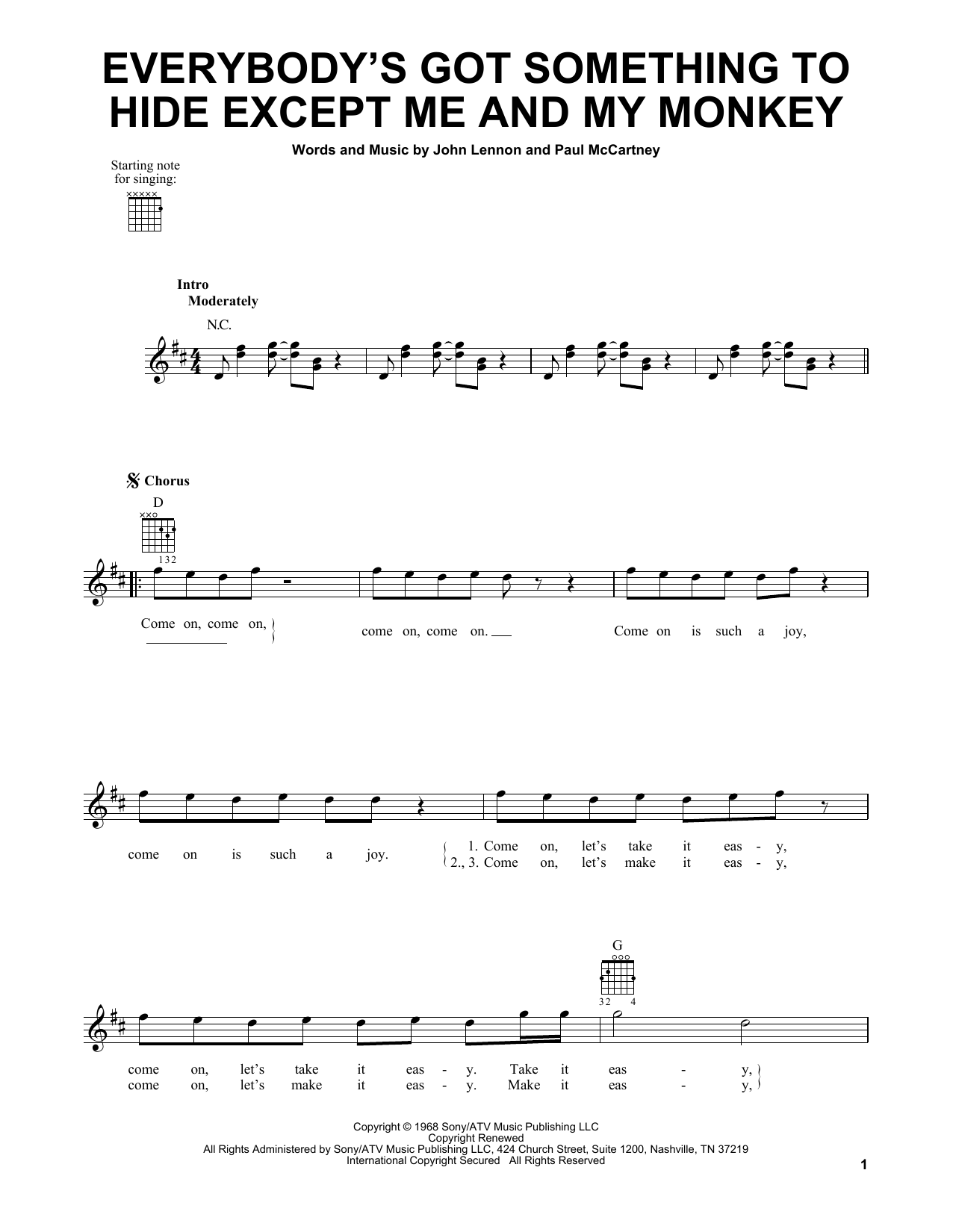 Tablature guitare Everybody's Got Something To Hide Except Me And My Monkey de The Beatles - Tablature guitare facile