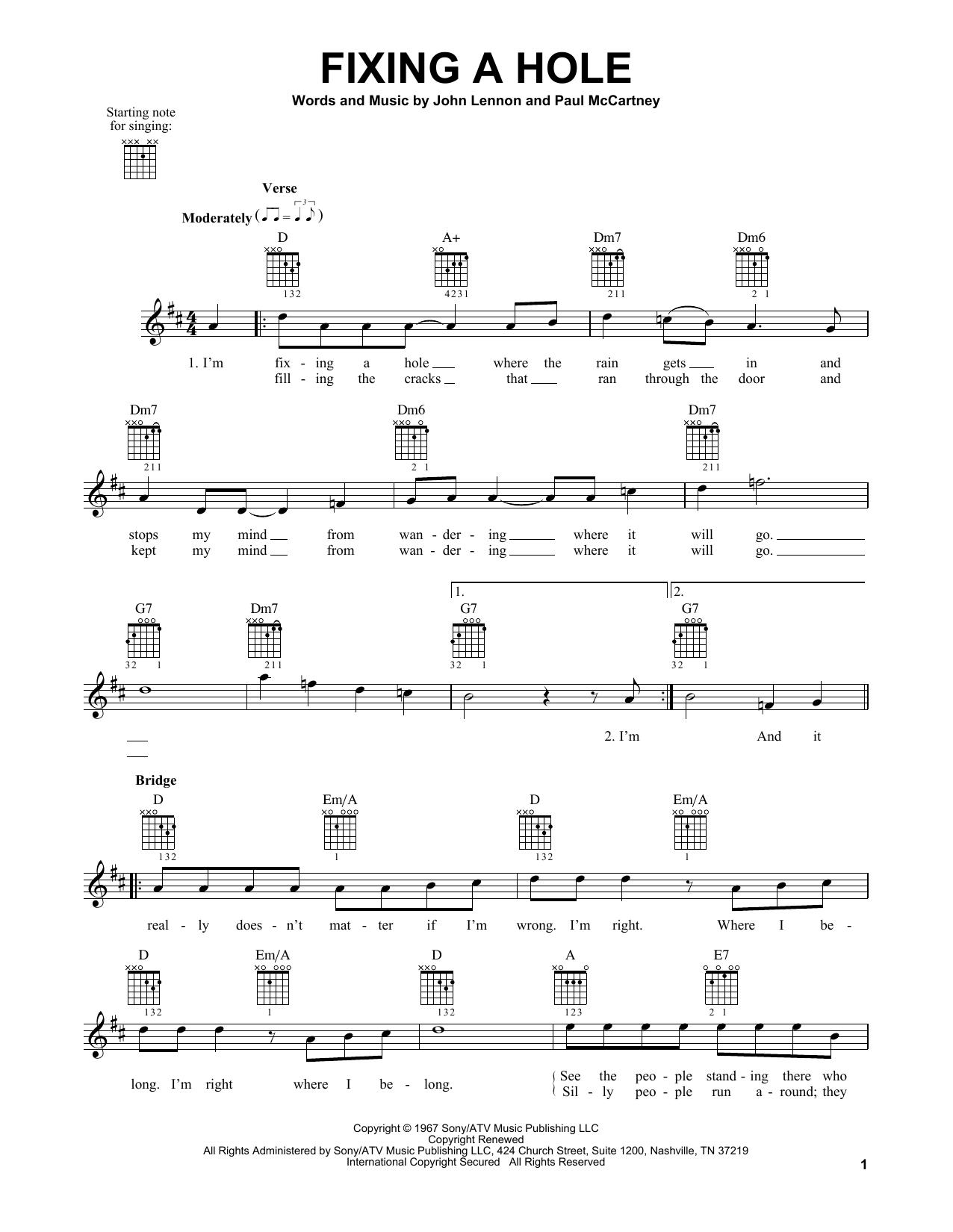 Tablature guitare Fixing A Hole de The Beatles - Tablature guitare facile