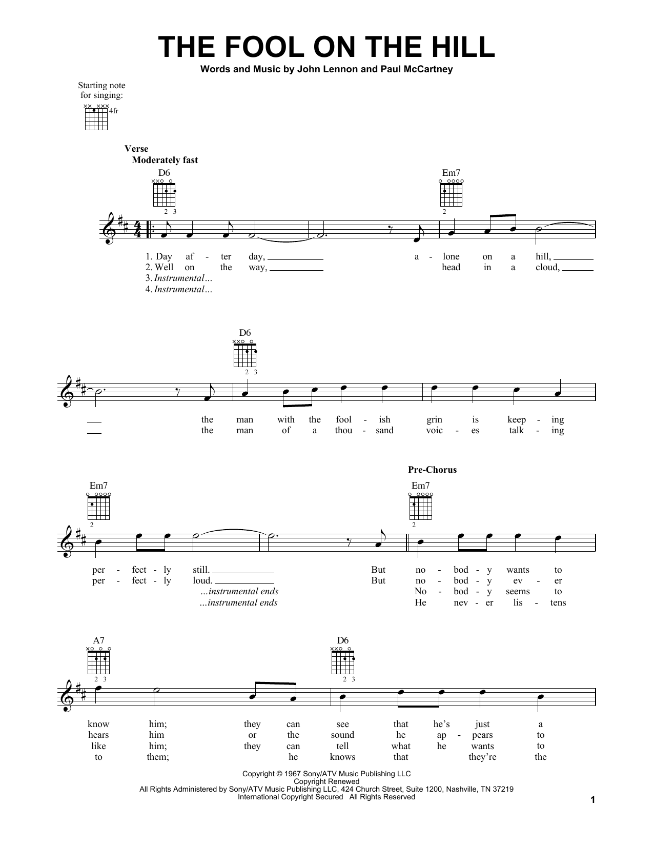 Tablature guitare The Fool On The Hill de The Beatles - Tablature guitare facile