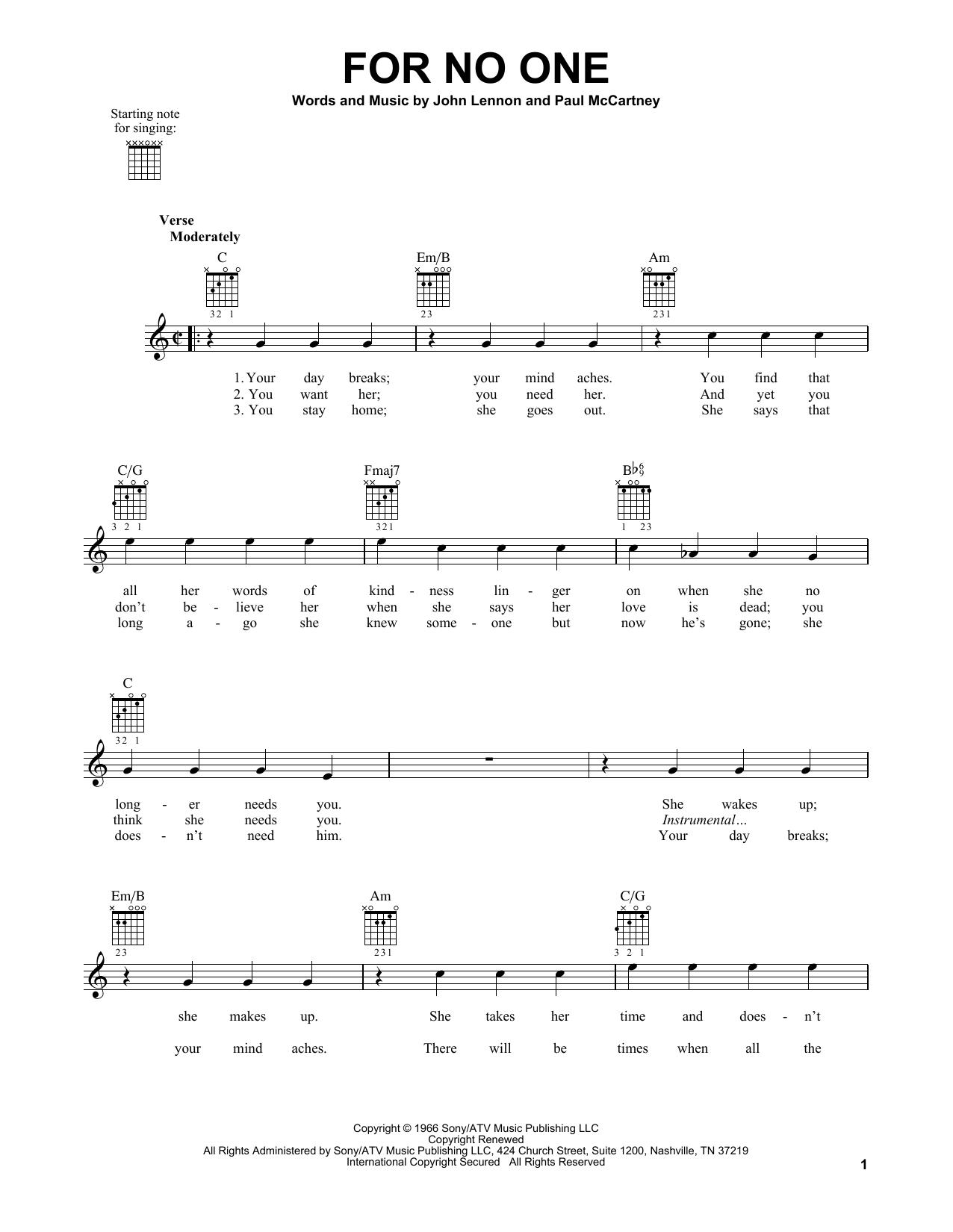 Tablature guitare For No One de The Beatles - Tablature guitare facile