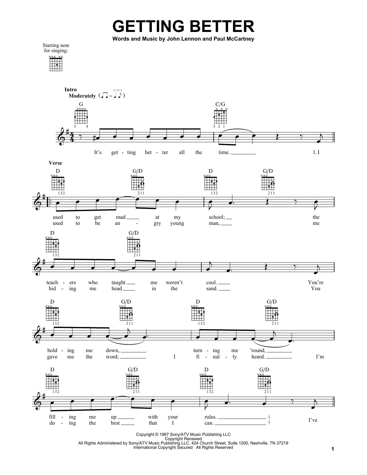 Tablature guitare Getting Better de The Beatles - Tablature guitare facile