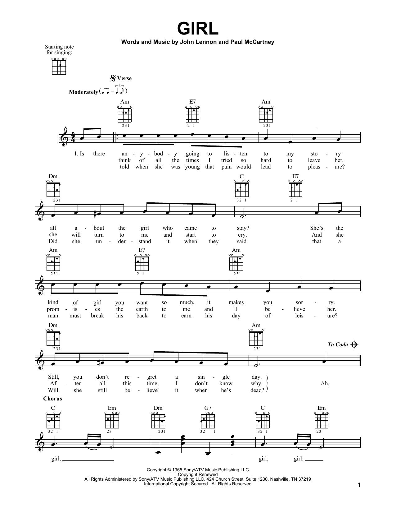 Tablature guitare Girl de The Beatles - Tablature guitare facile