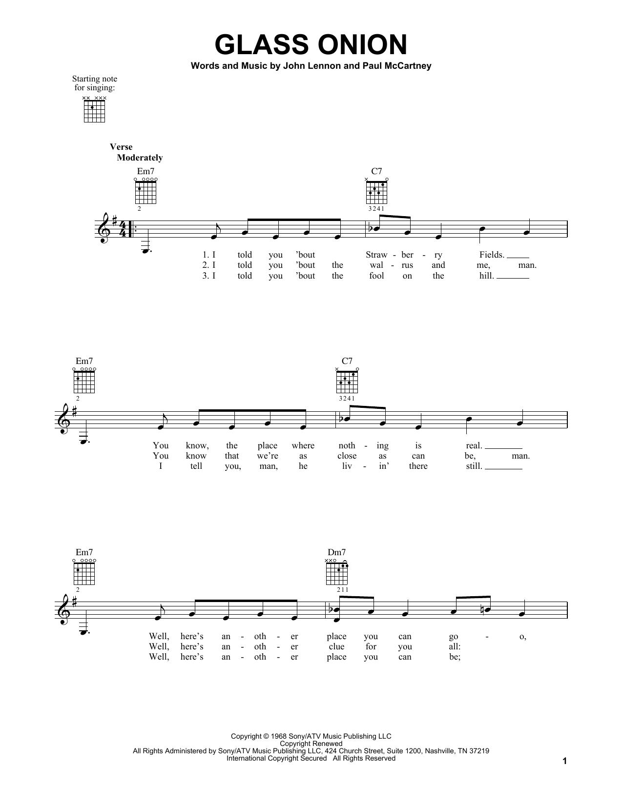 Tablature guitare Glass Onion de The Beatles - Tablature guitare facile