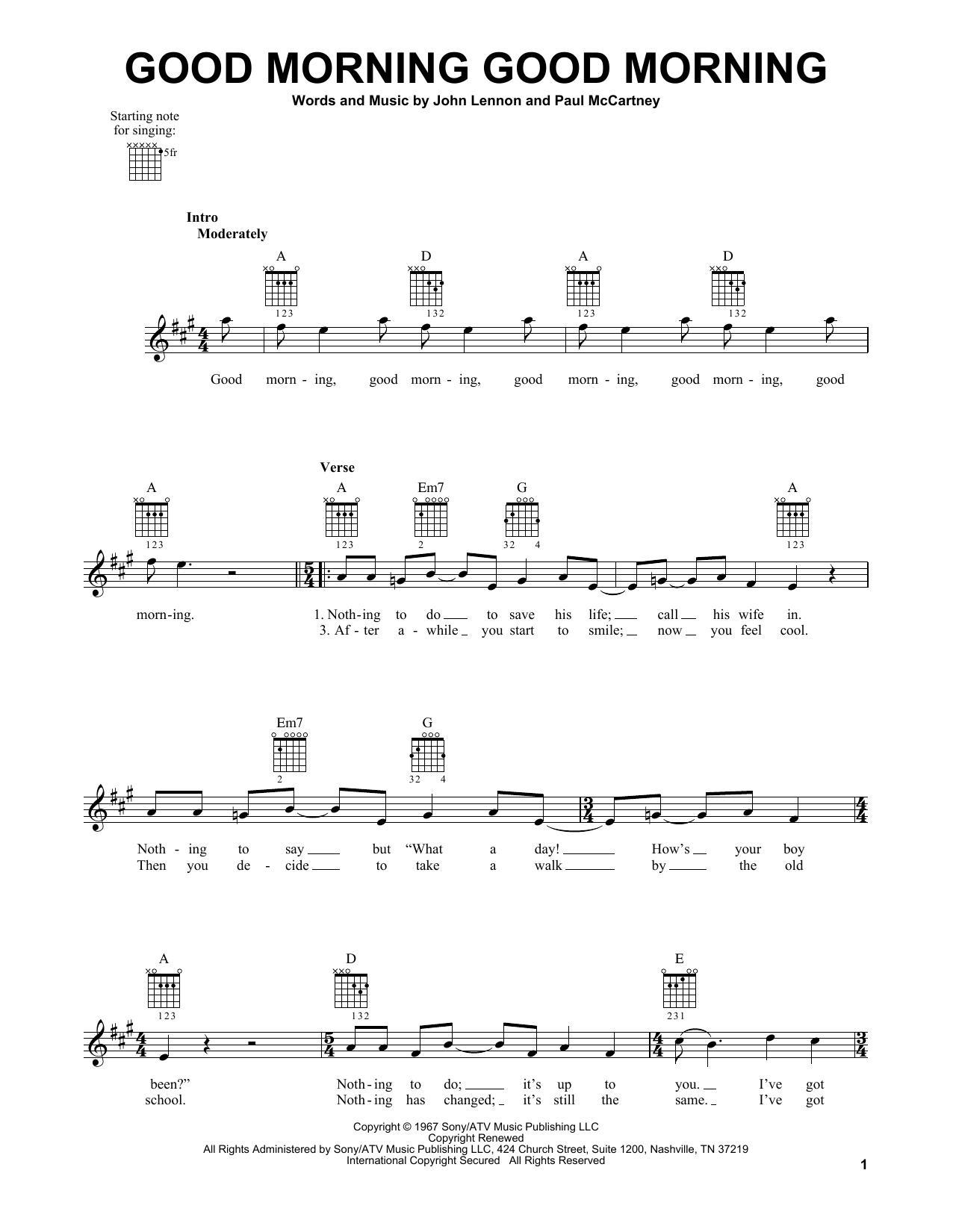 Tablature guitare Good Morning Good Morning de The Beatles - Tablature guitare facile
