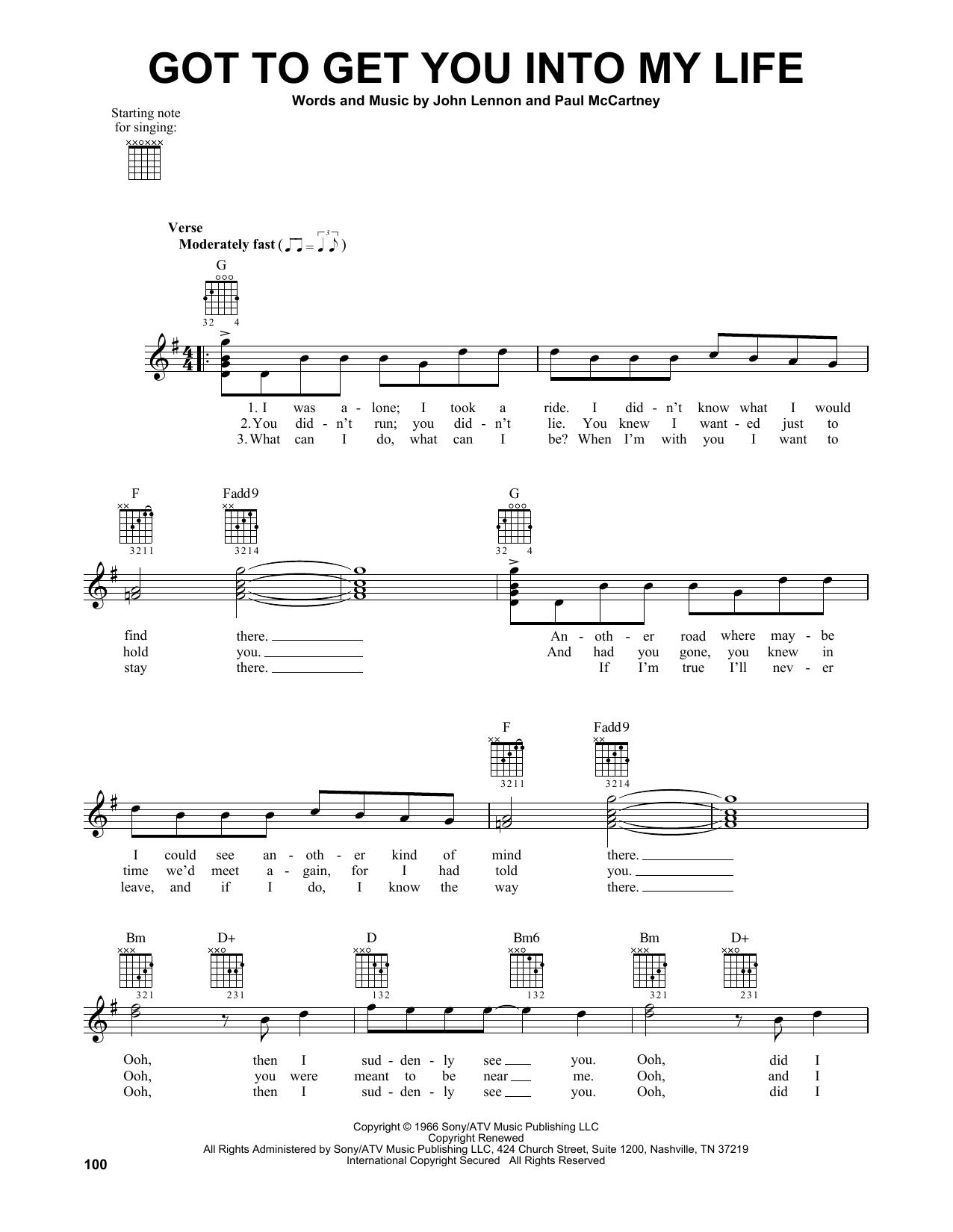 Tablature guitare Got To Get You Into My Life de The Beatles - Tablature guitare facile