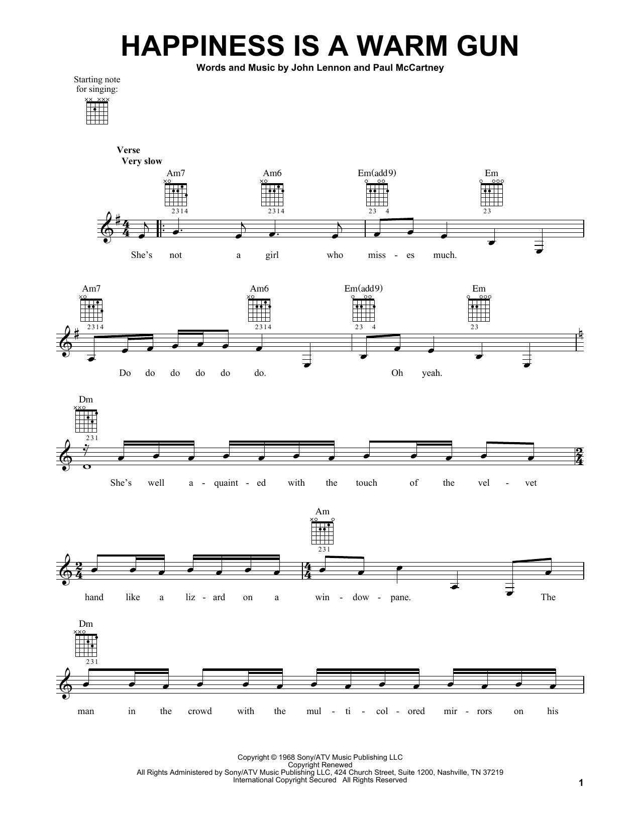 Tablature guitare Happiness Is A Warm Gun de The Beatles - Tablature guitare facile