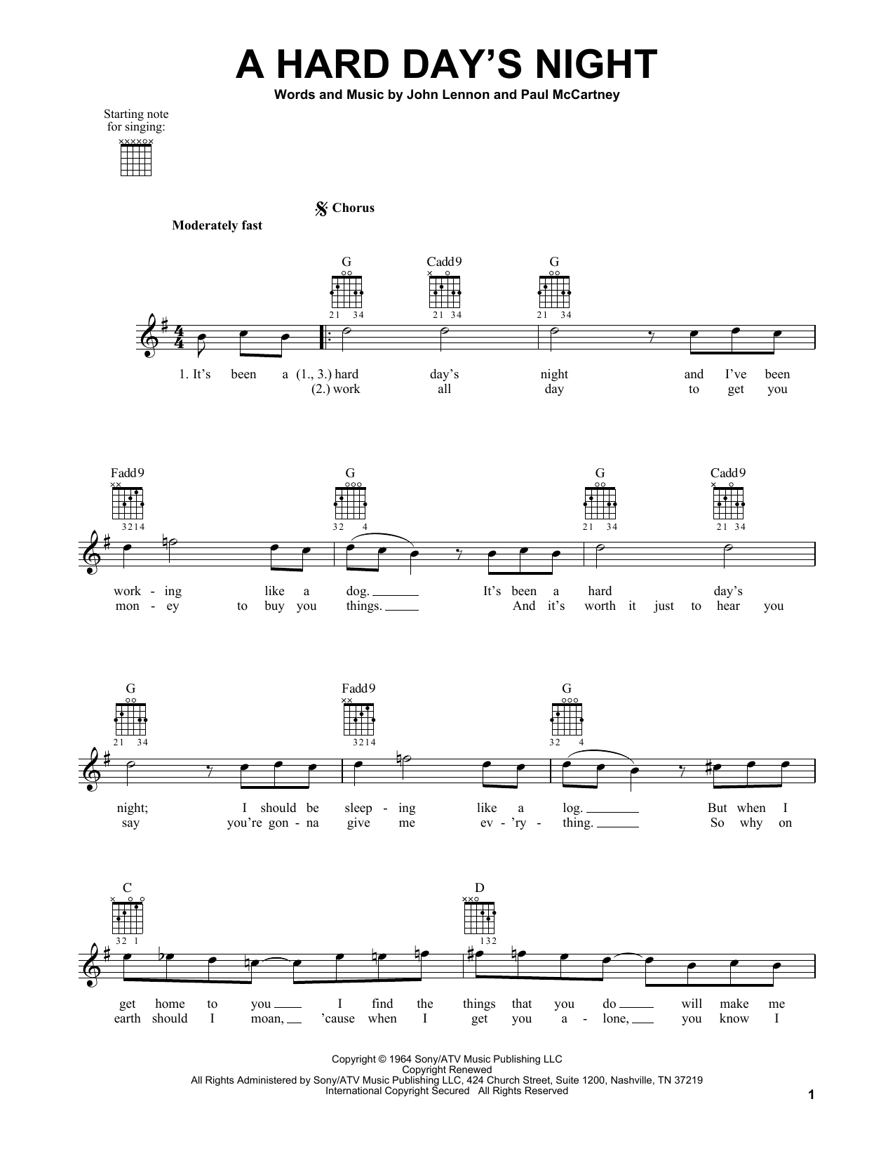 Tablature guitare A Hard Day's Night de The Beatles - Tablature guitare facile
