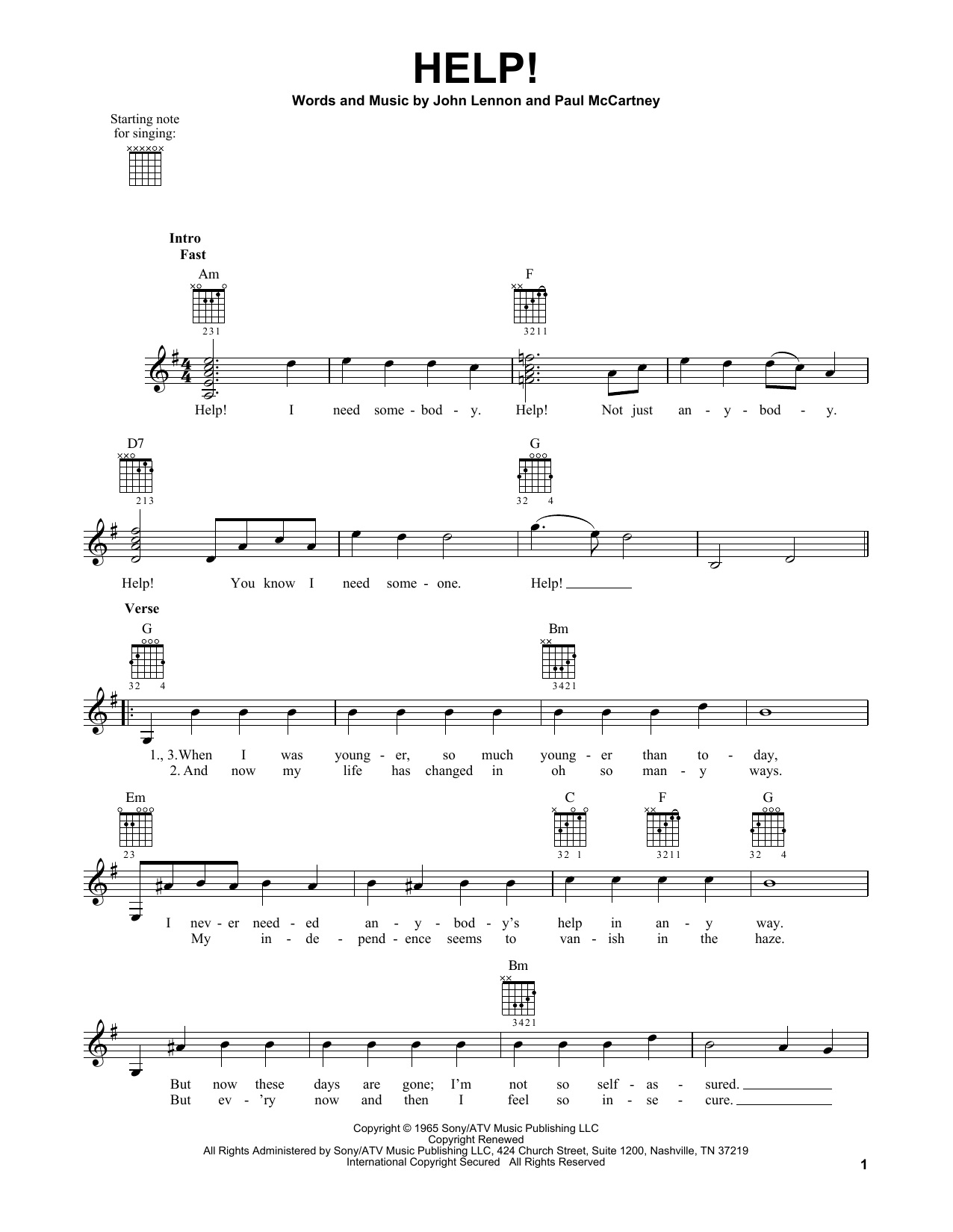 Tablature guitare Help! de The Beatles - Tablature guitare facile