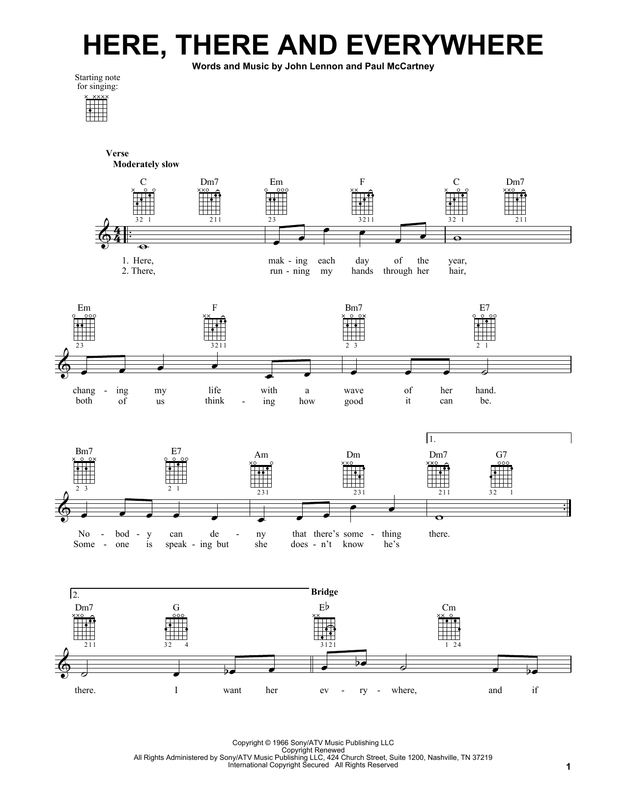 Tablature guitare Here, There And Everywhere de The Beatles - Tablature guitare facile