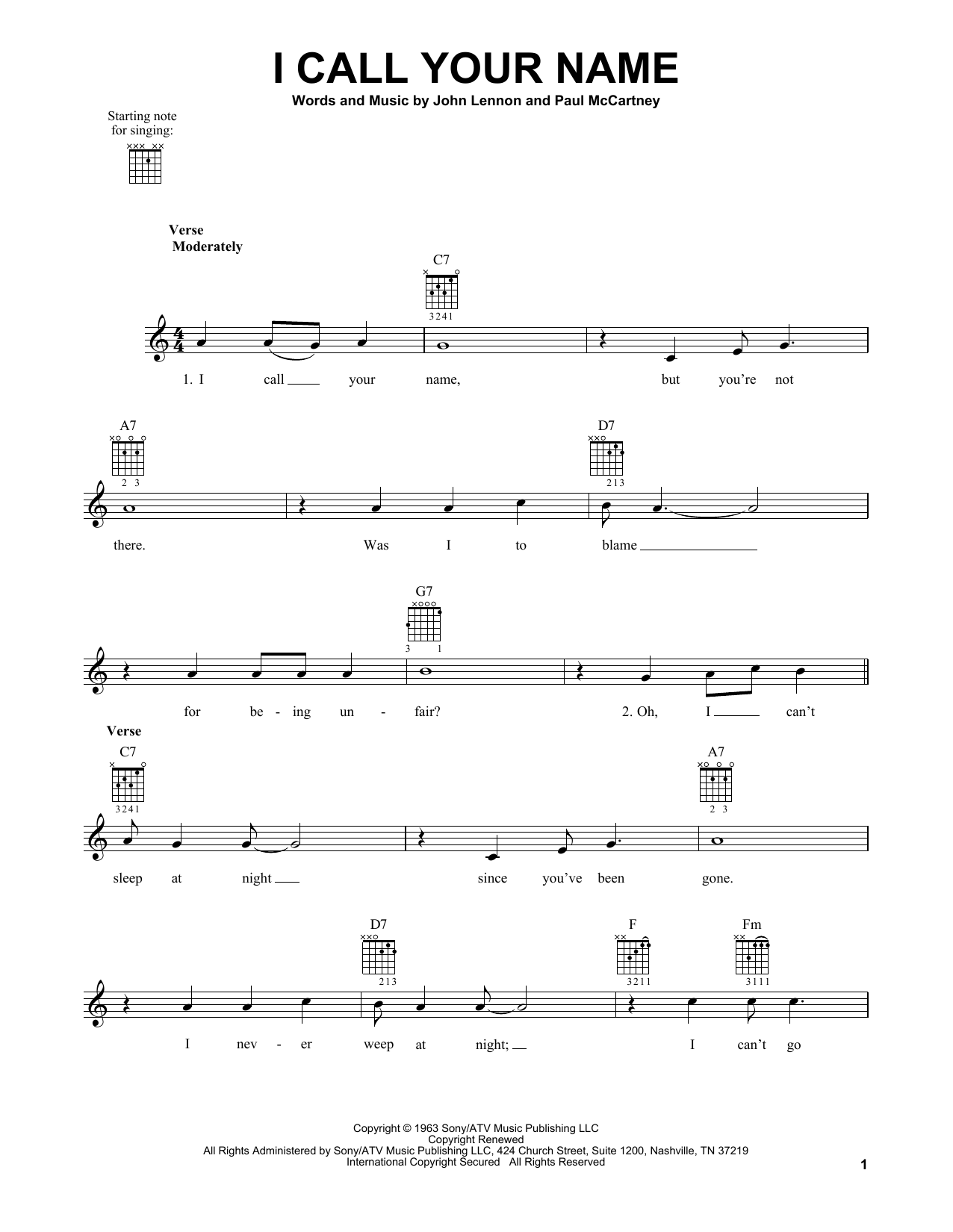 Tablature guitare I Call Your Name de The Beatles - Tablature guitare facile