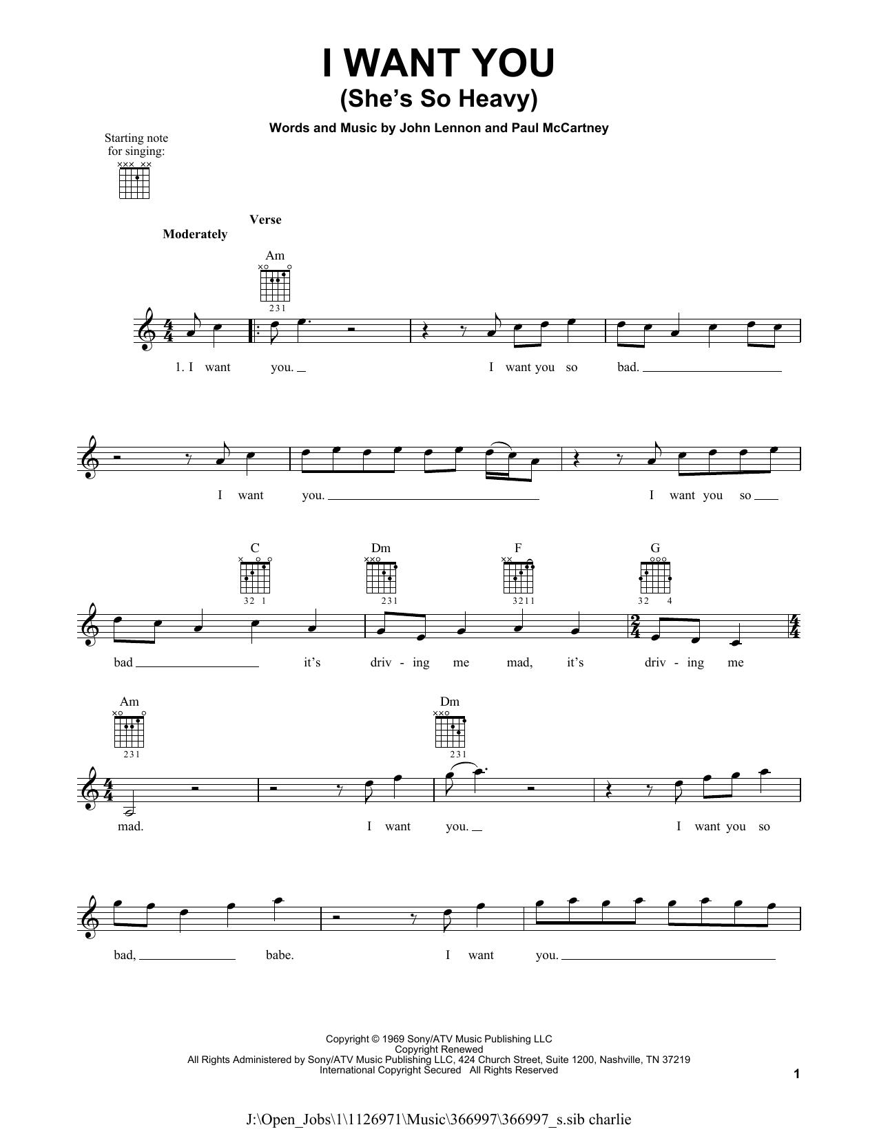 Tablature guitare I Want You (She's So Heavy) de The Beatles - Tablature guitare facile
