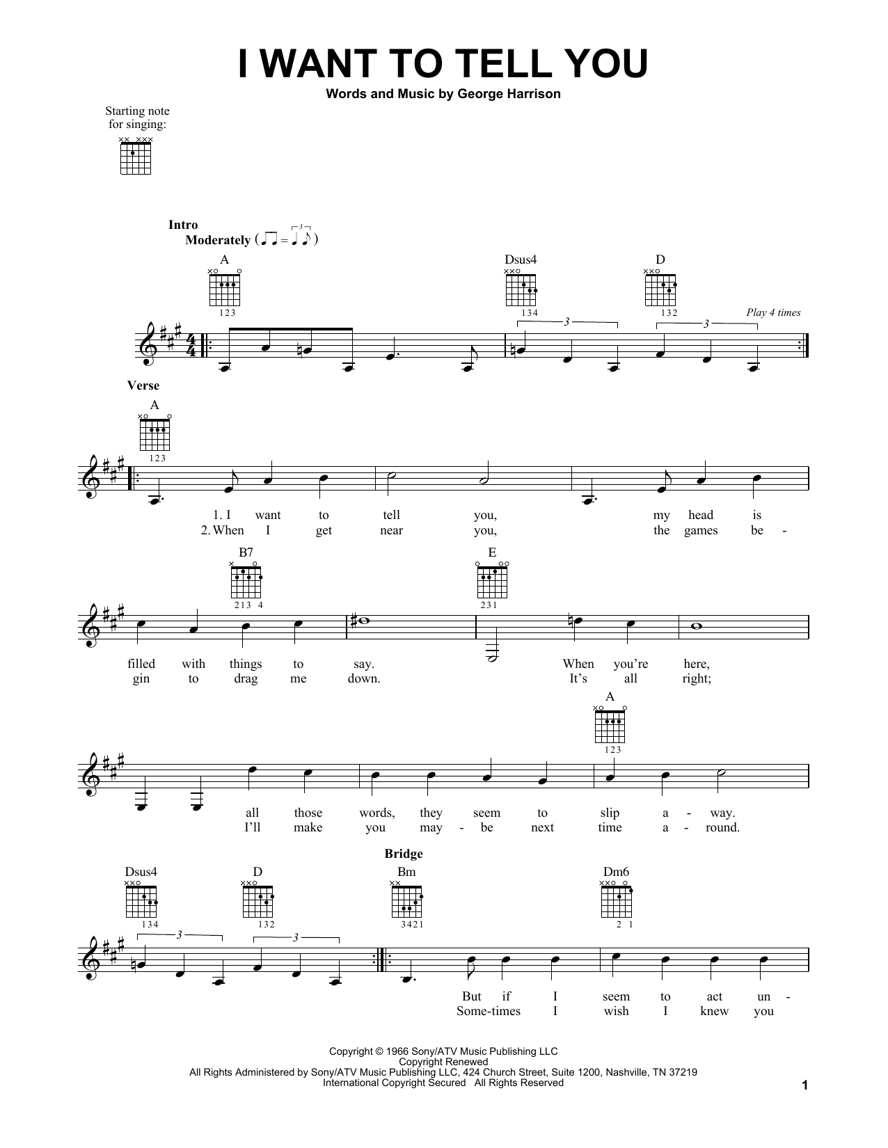 Tablature guitare I Want To Tell You de The Beatles - Tablature guitare facile
