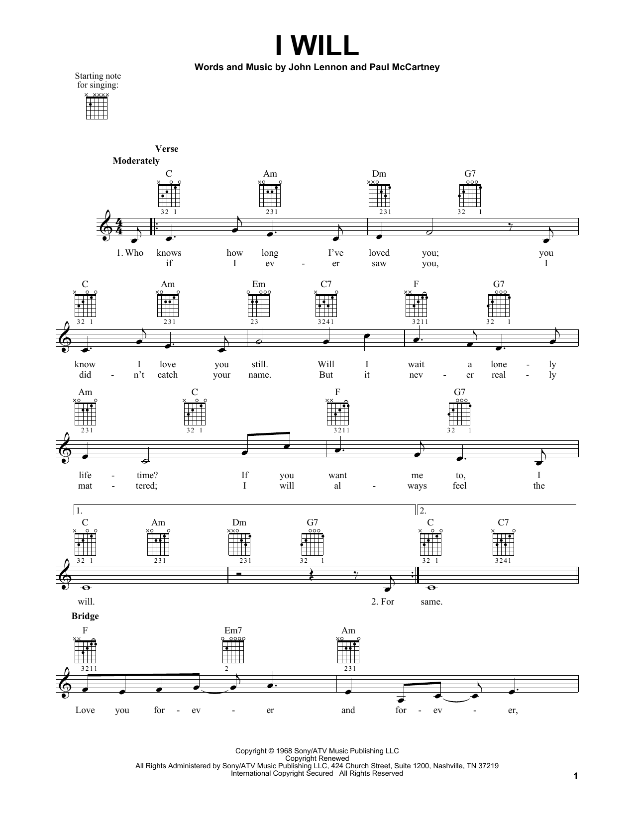 Tablature guitare I Will de The Beatles - Tablature guitare facile
