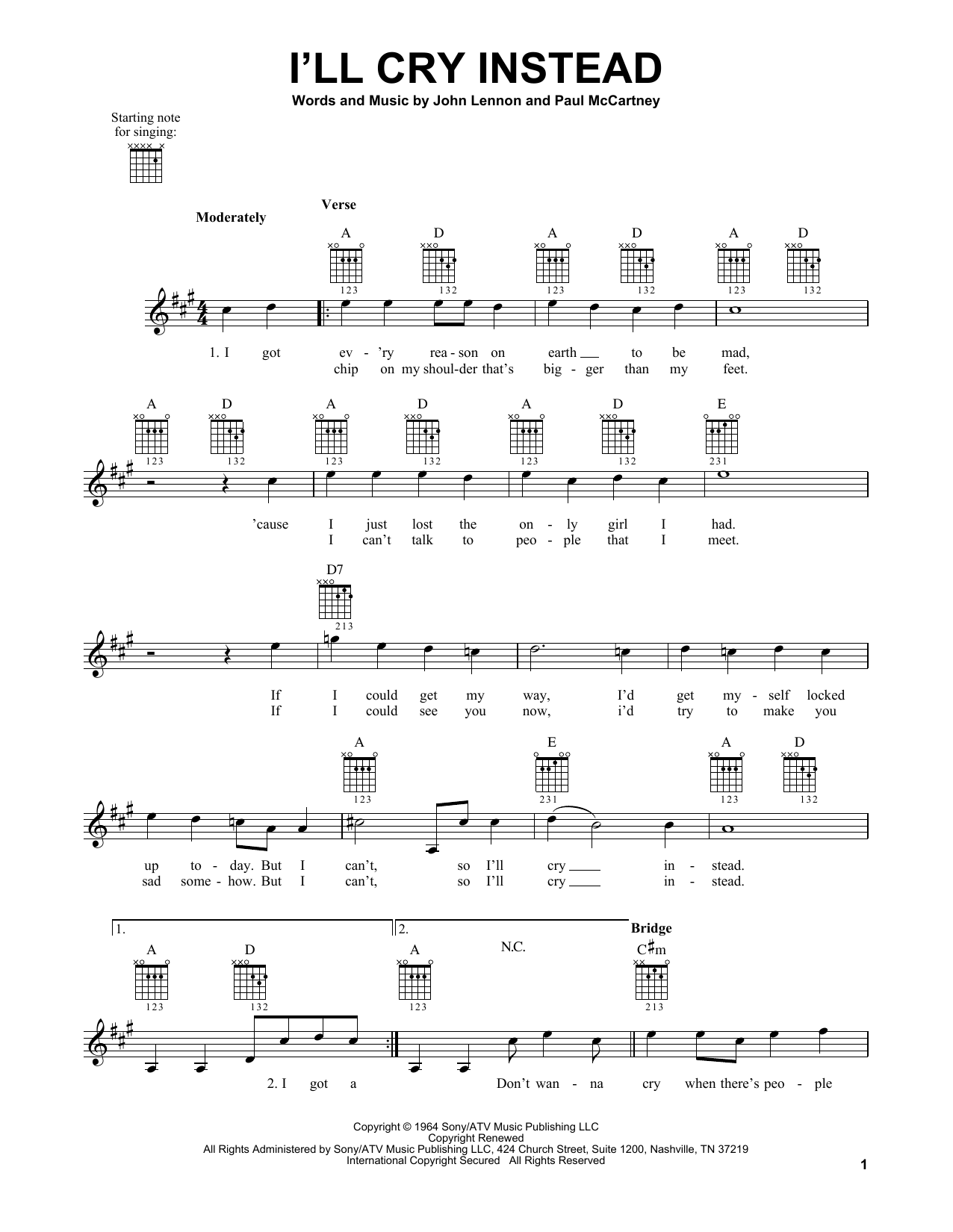 Tablature guitare I'll Cry Instead de The Beatles - Tablature guitare facile