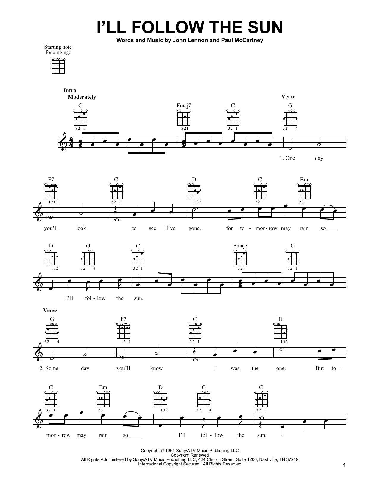 Tablature guitare I'll Follow The Sun de The Beatles - Tablature guitare facile
