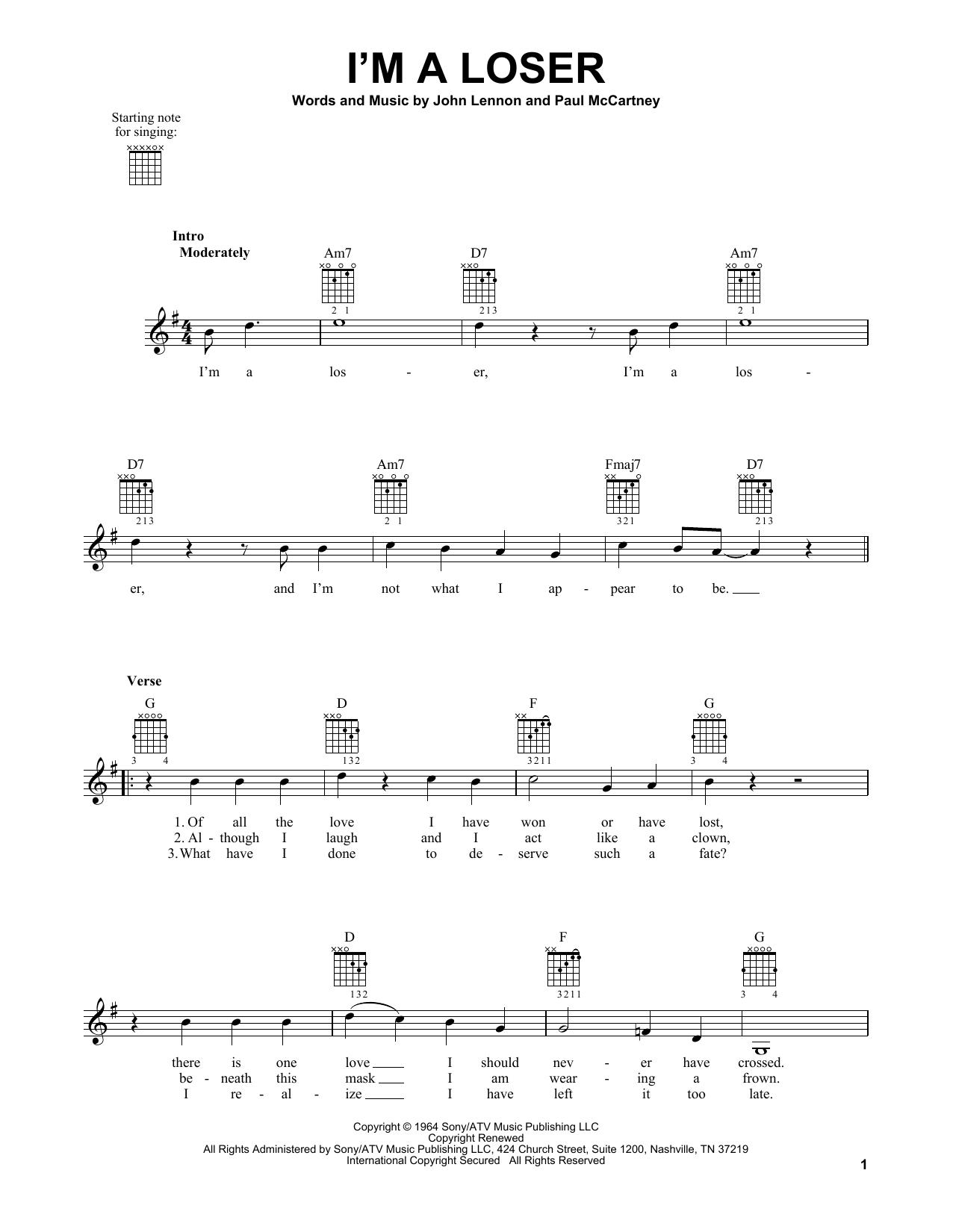 Tablature guitare I'm A Loser de The Beatles - Tablature guitare facile