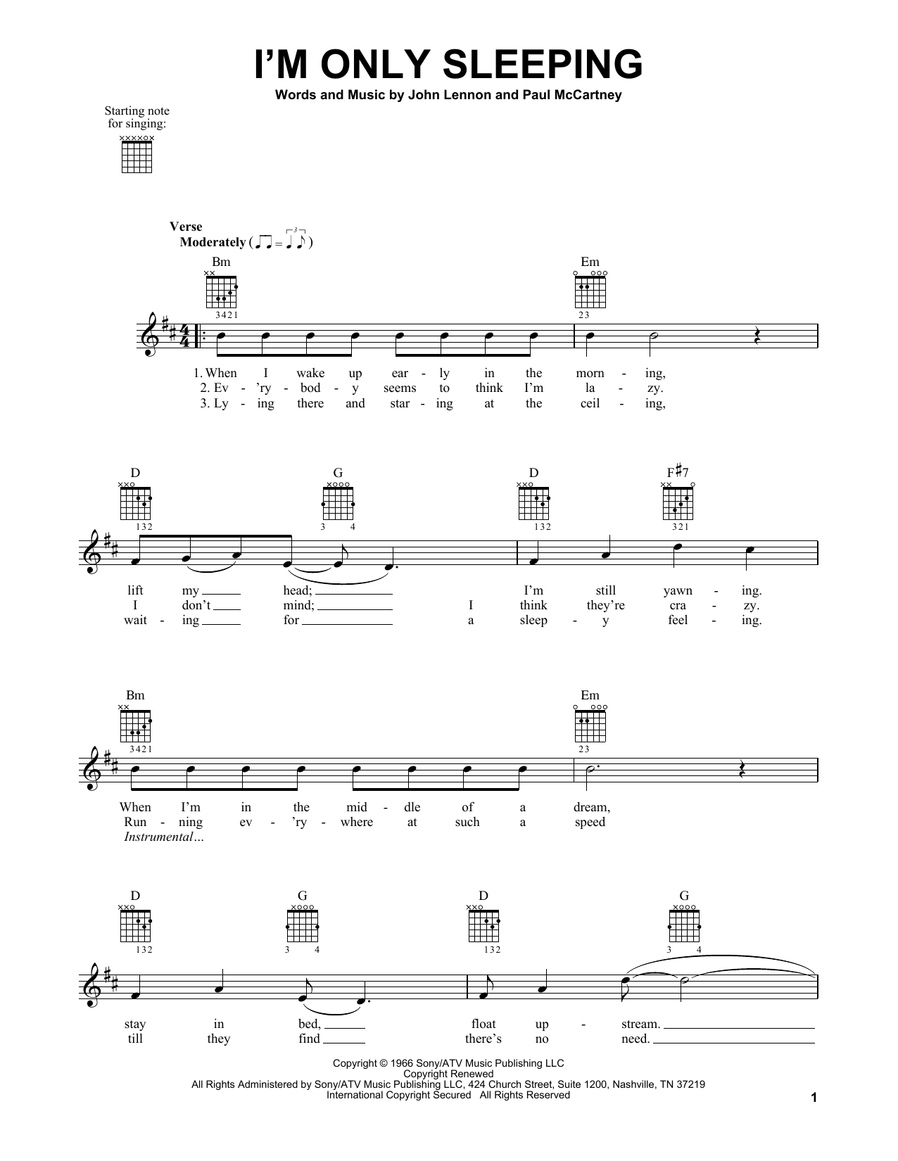 Tablature guitare I'm Only Sleeping de The Beatles - Tablature guitare facile