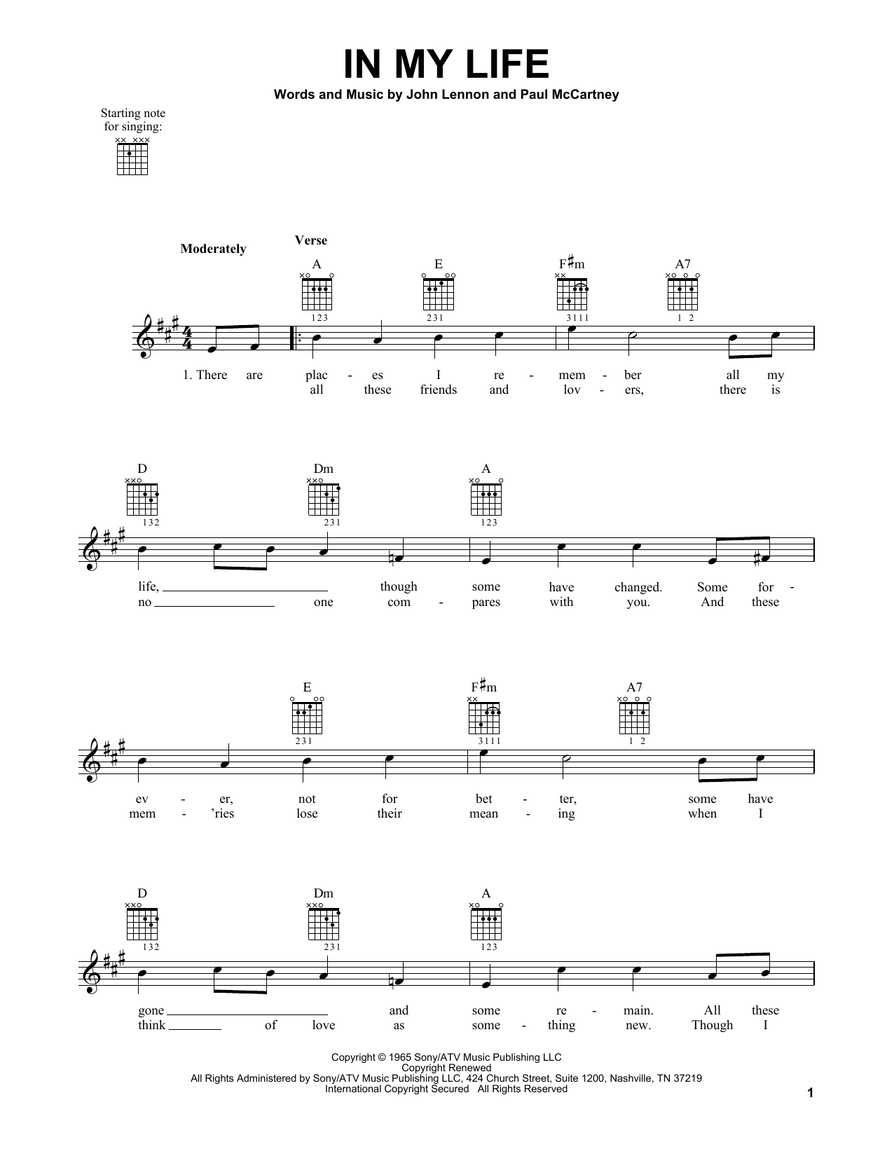 Tablature guitare In My Life de The Beatles - Tablature guitare facile