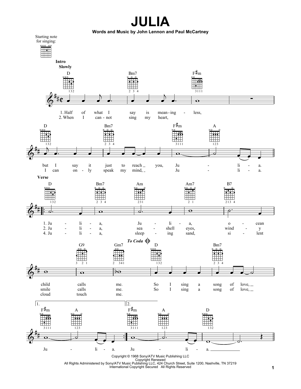 Tablature guitare Julia de The Beatles - Tablature guitare facile