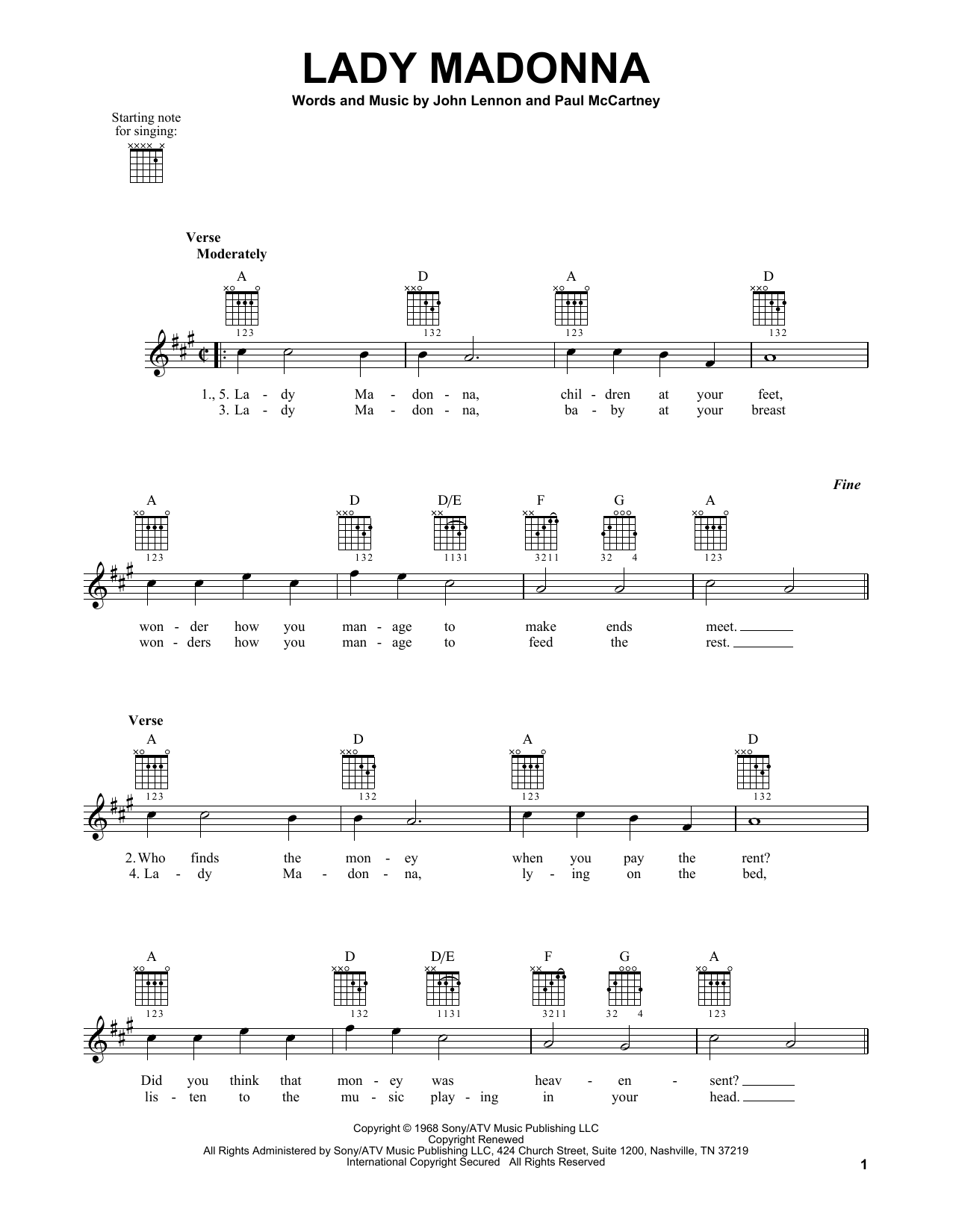 Tablature guitare Lady Madonna de The Beatles - Tablature guitare facile