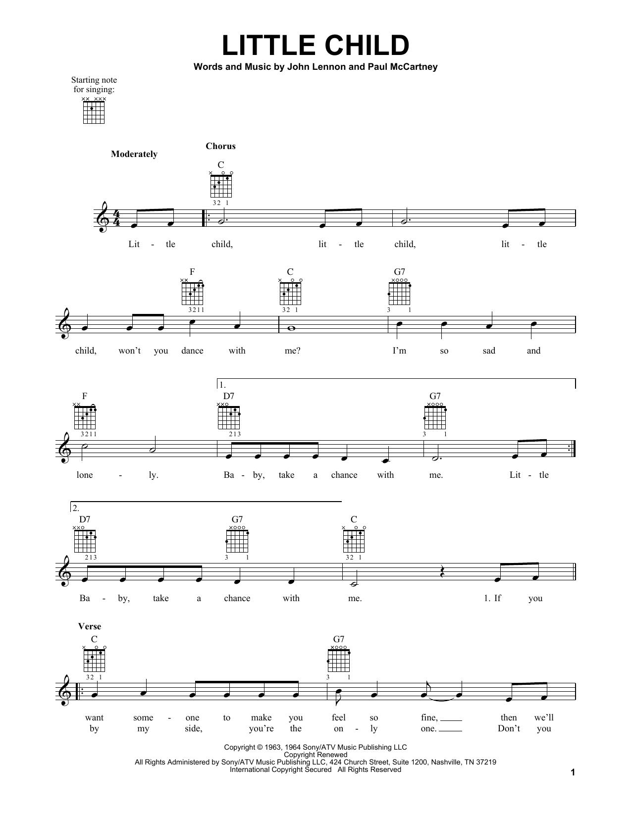 Tablature guitare Little Child de The Beatles - Tablature guitare facile