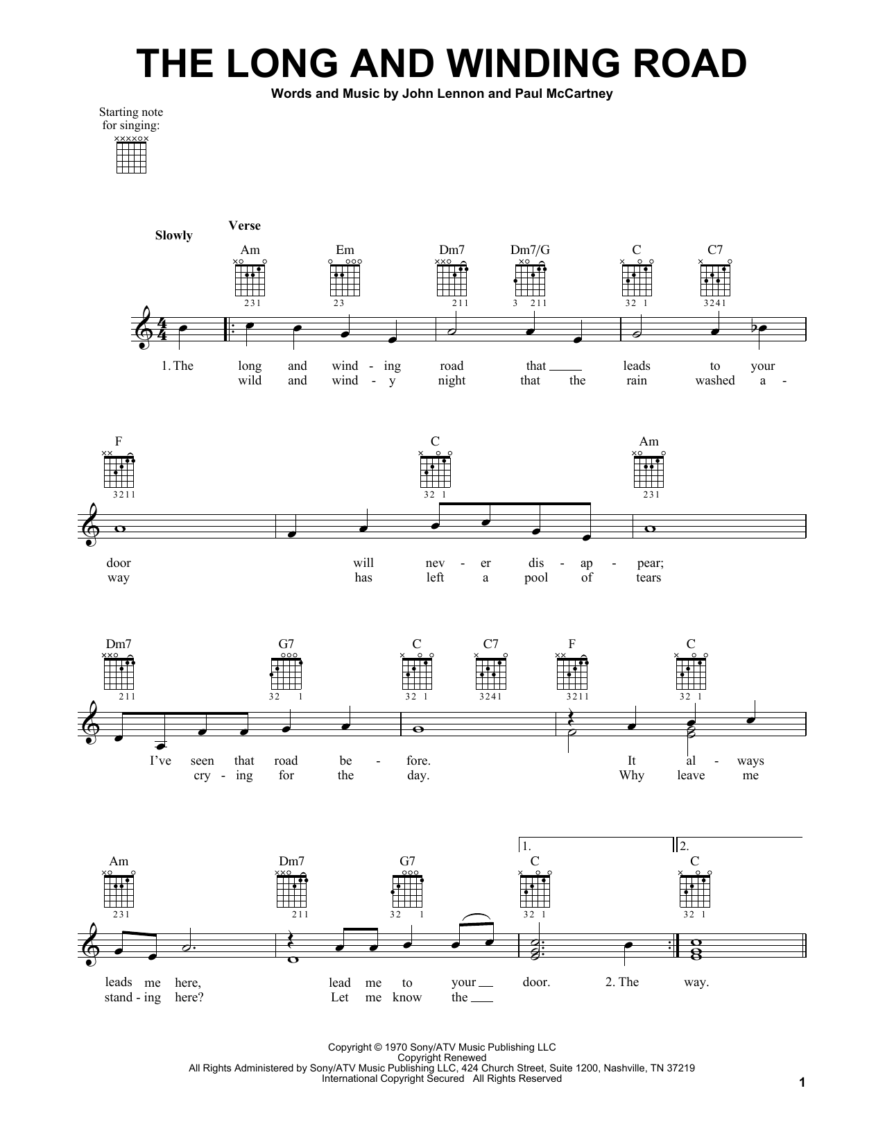 Tablature guitare The Long And Winding Road de The Beatles - Tablature guitare facile