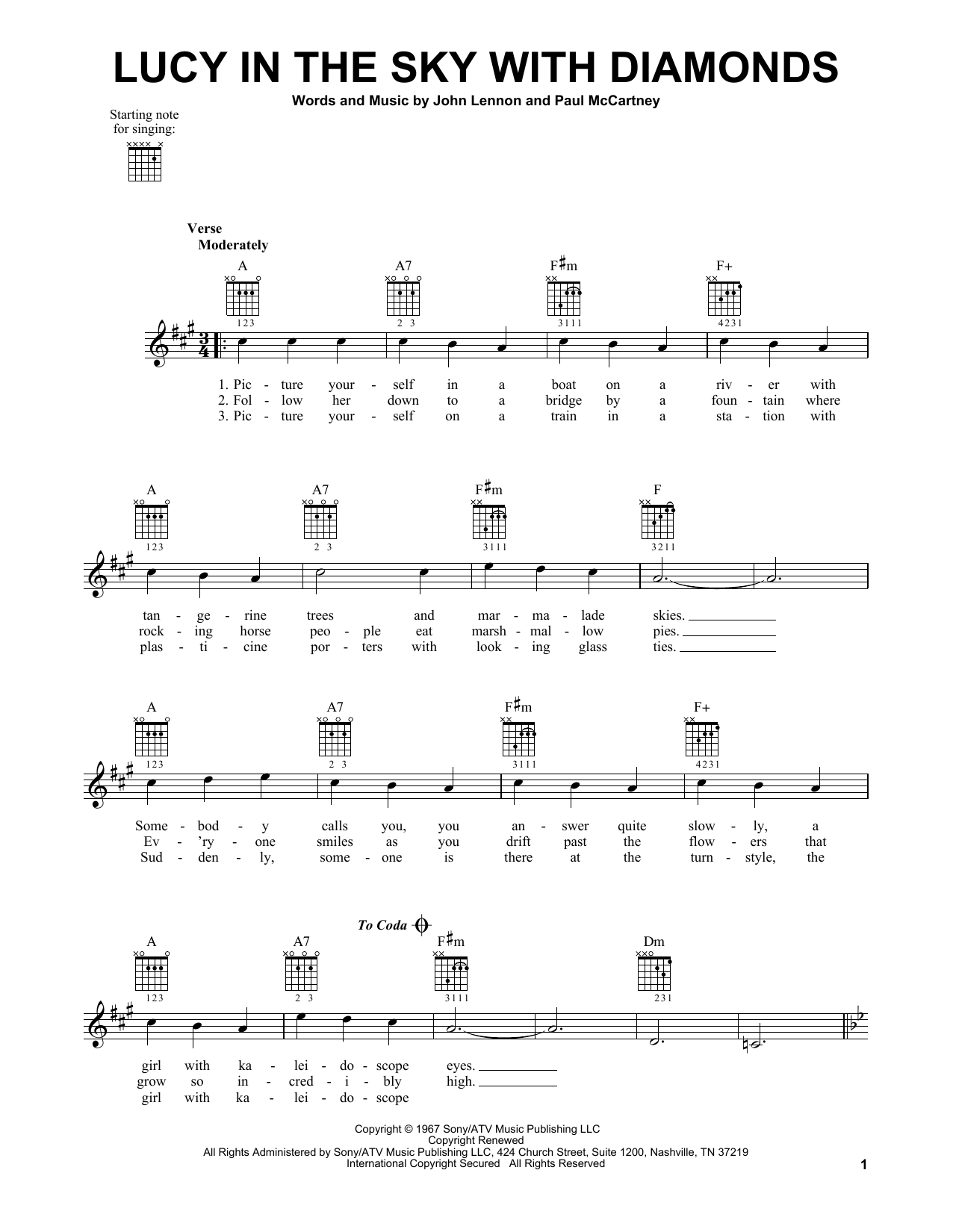 Tablature guitare Lucy In The Sky With Diamonds de The Beatles - Tablature guitare facile