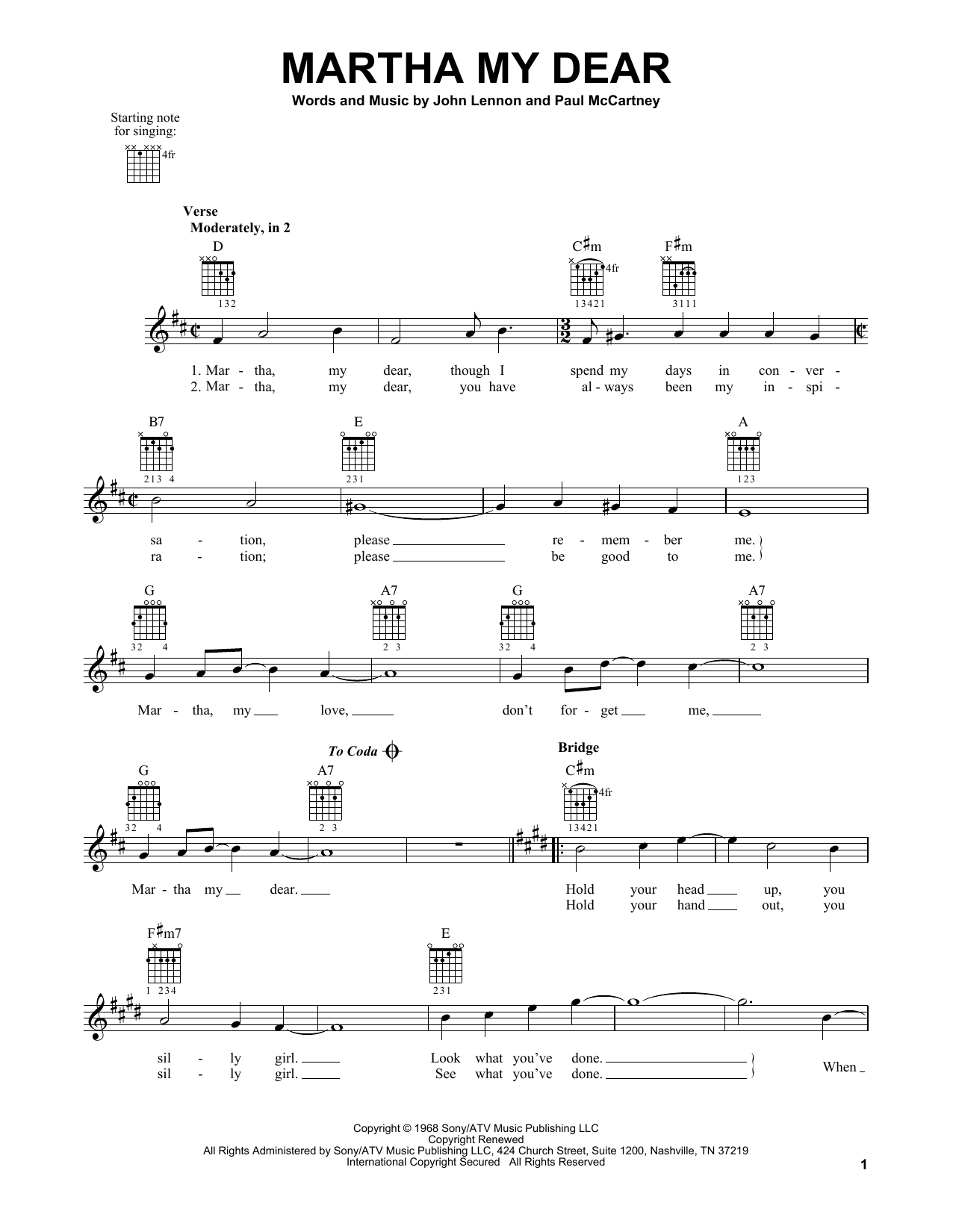 Tablature guitare Martha My Dear de The Beatles - Tablature guitare facile