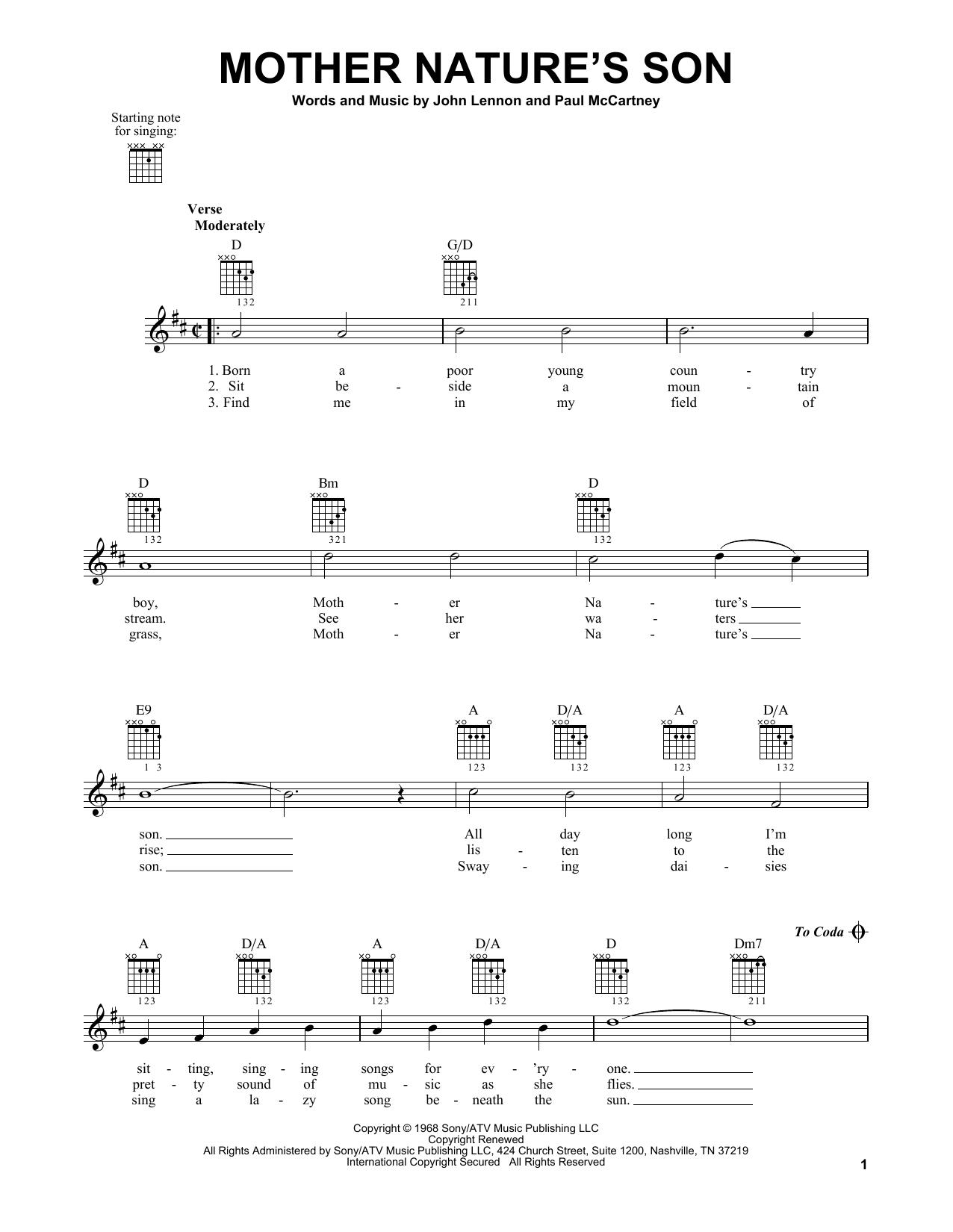 Tablature guitare Mother Nature's Son de The Beatles - Tablature guitare facile