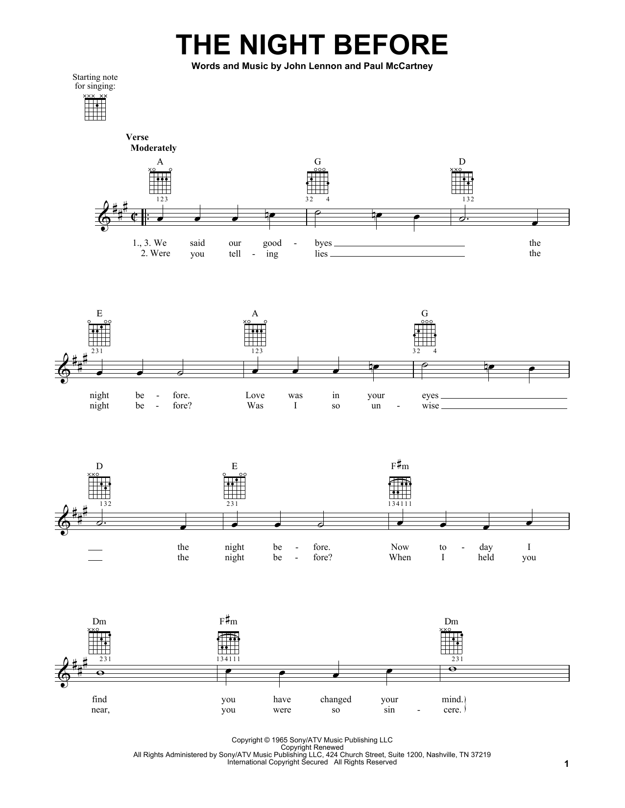 Tablature guitare The Night Before de The Beatles - Tablature guitare facile