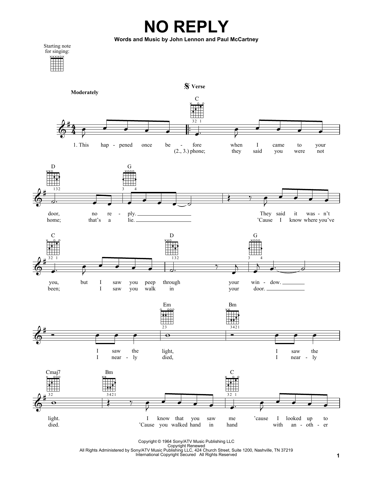 Tablature guitare No Reply de The Beatles - Tablature guitare facile
