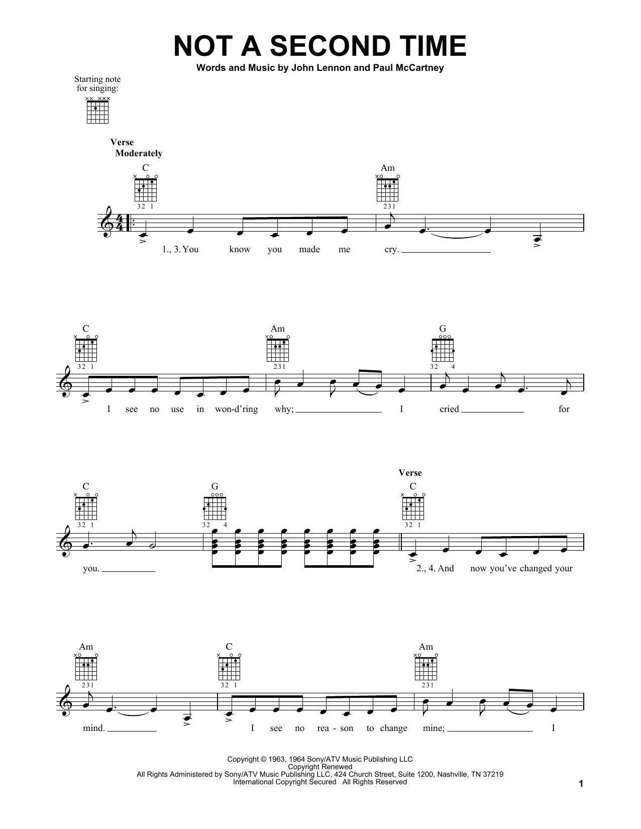 Tablature guitare Not A Second Time de The Beatles - Tablature guitare facile