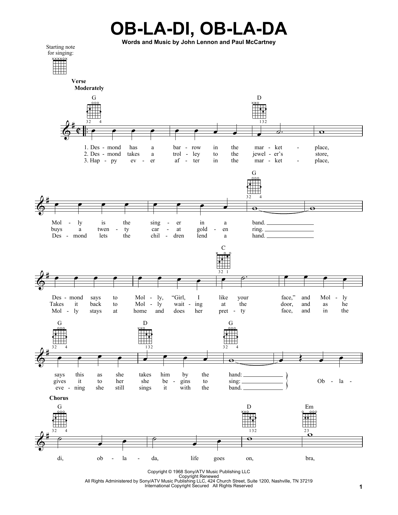 Tablature guitare Ob-La-Di, Ob-La-Da de The Beatles - Tablature guitare facile