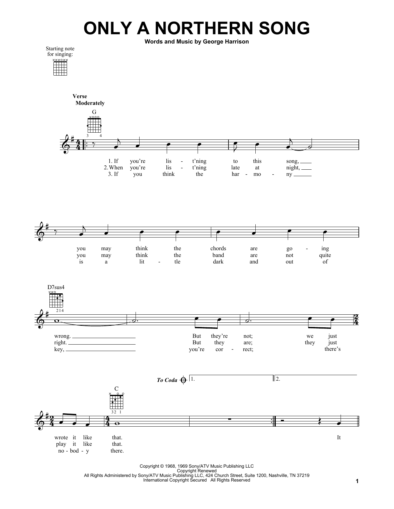 Tablature guitare Only A Northern Song de The Beatles - Tablature guitare facile